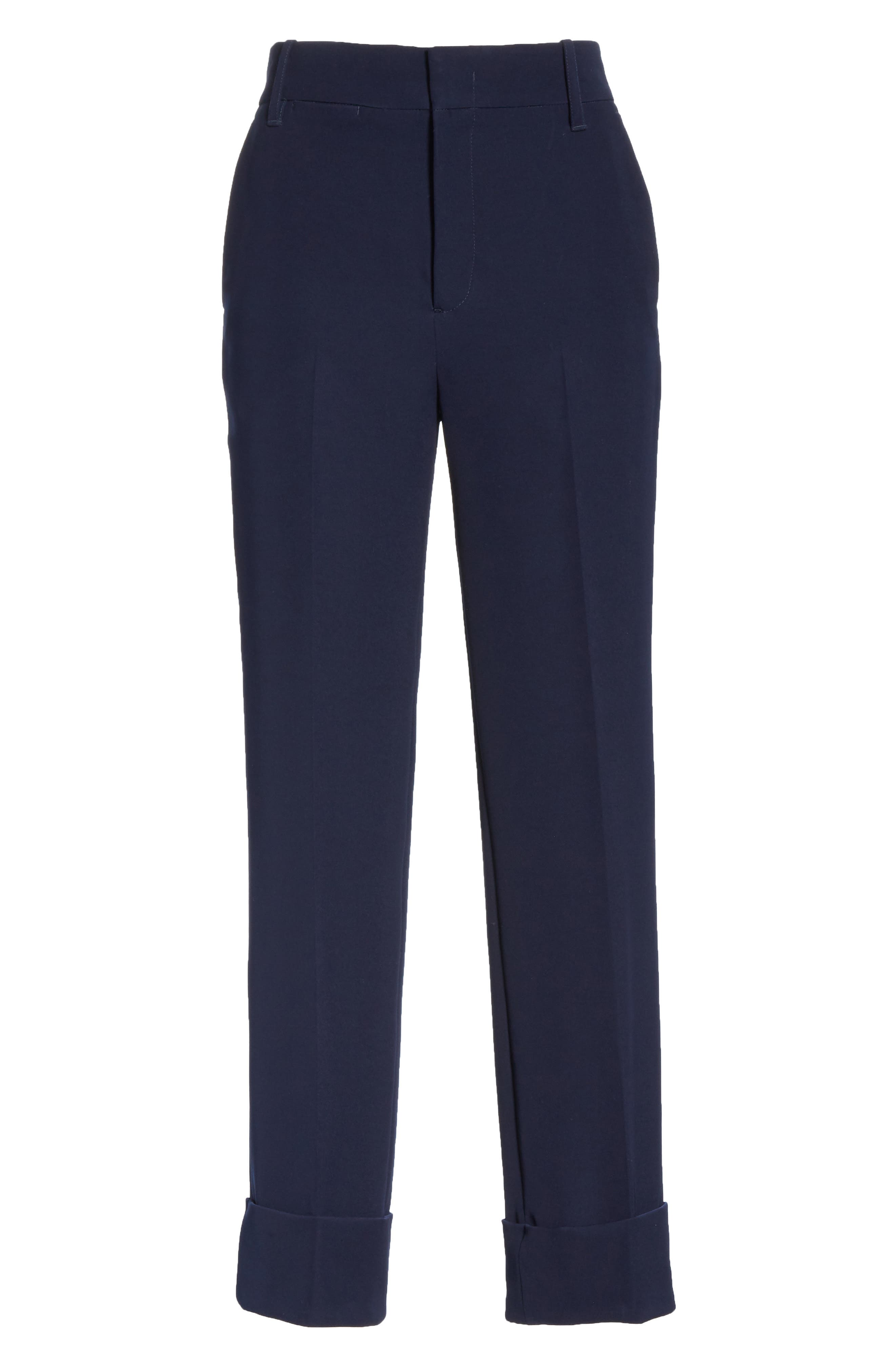 Cuffed Ankle Trousers,                             Alternate thumbnail 6, color,                             NAVY