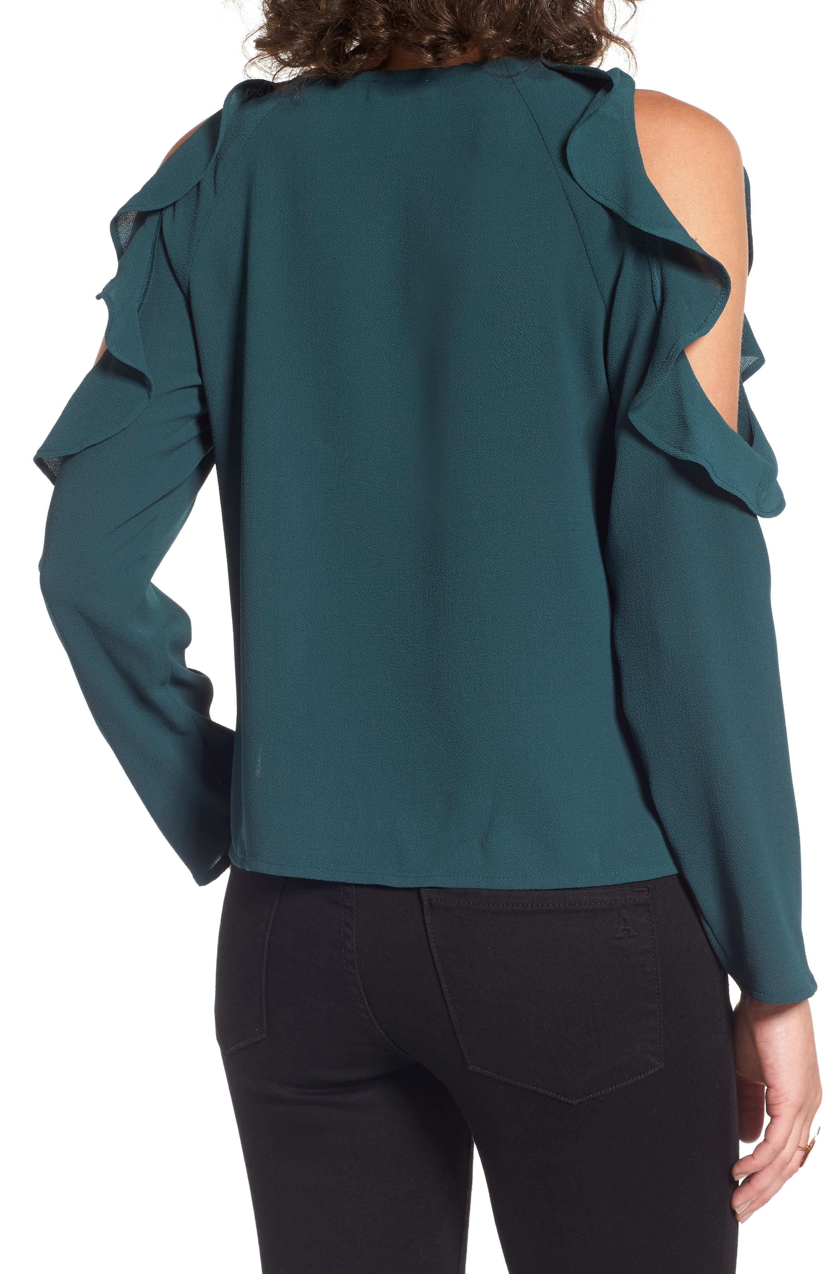 Cold Shoulder Ruffle Top,                             Alternate thumbnail 2, color,                             310