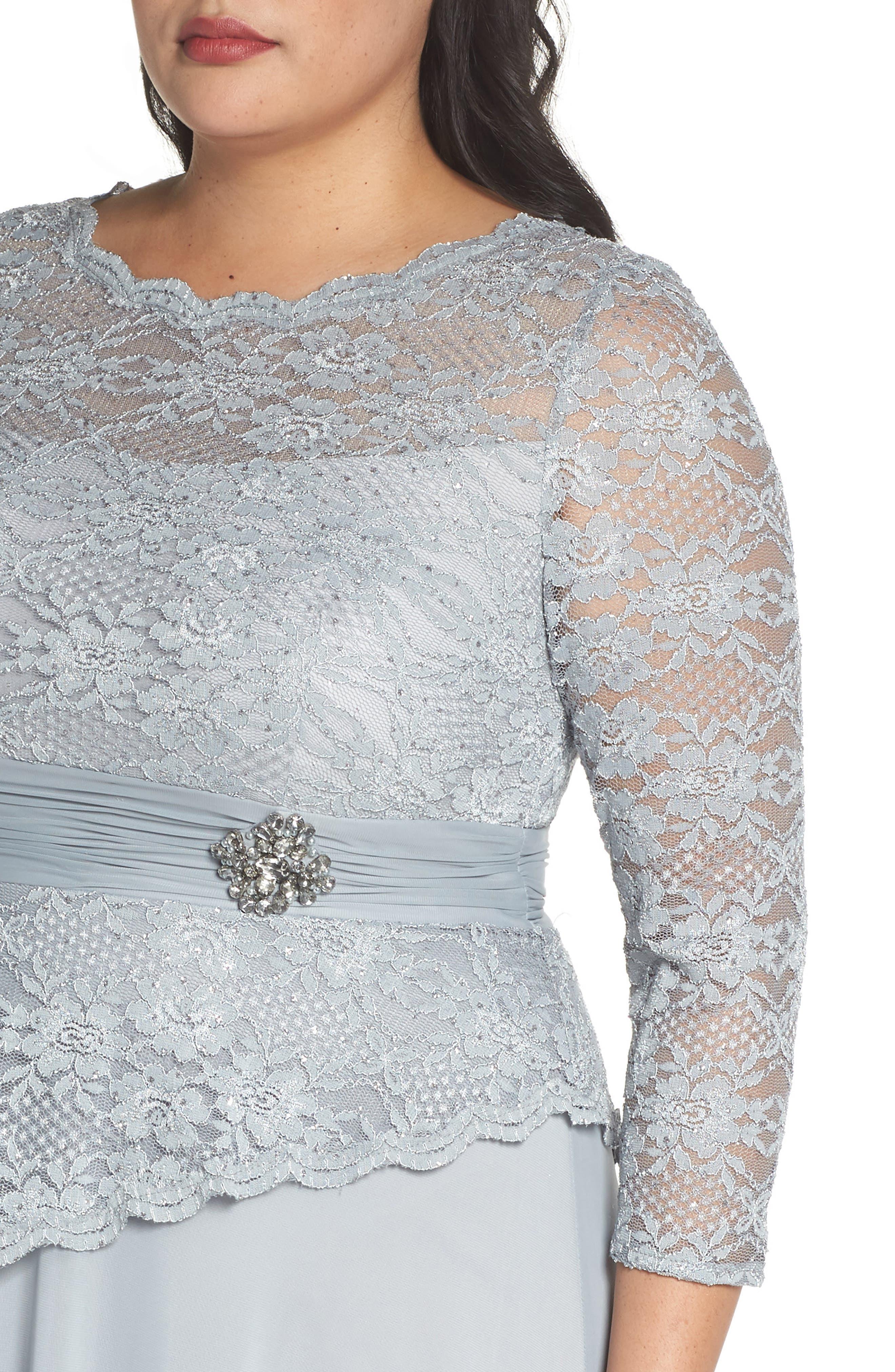 Asymmetrical Lace Bodice Gown,                             Alternate thumbnail 4, color,                             SAGE