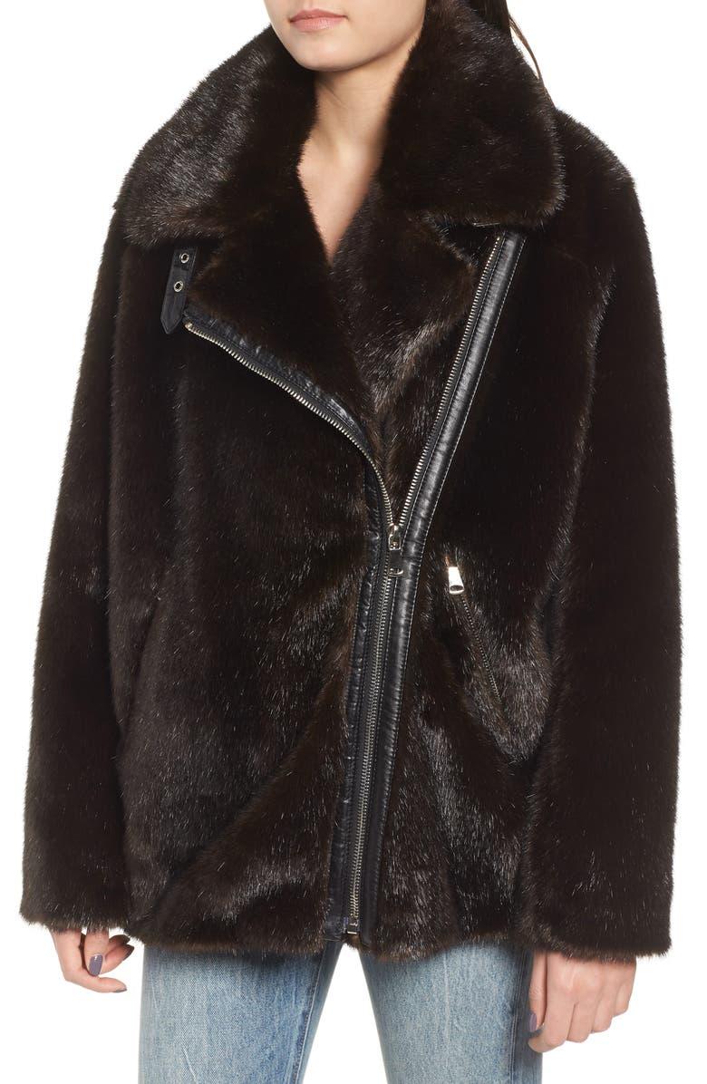 d2da4d8d5ae Shop Kendall + Kylie Oversize Faux Mink Fur Moto Jacket In Brown