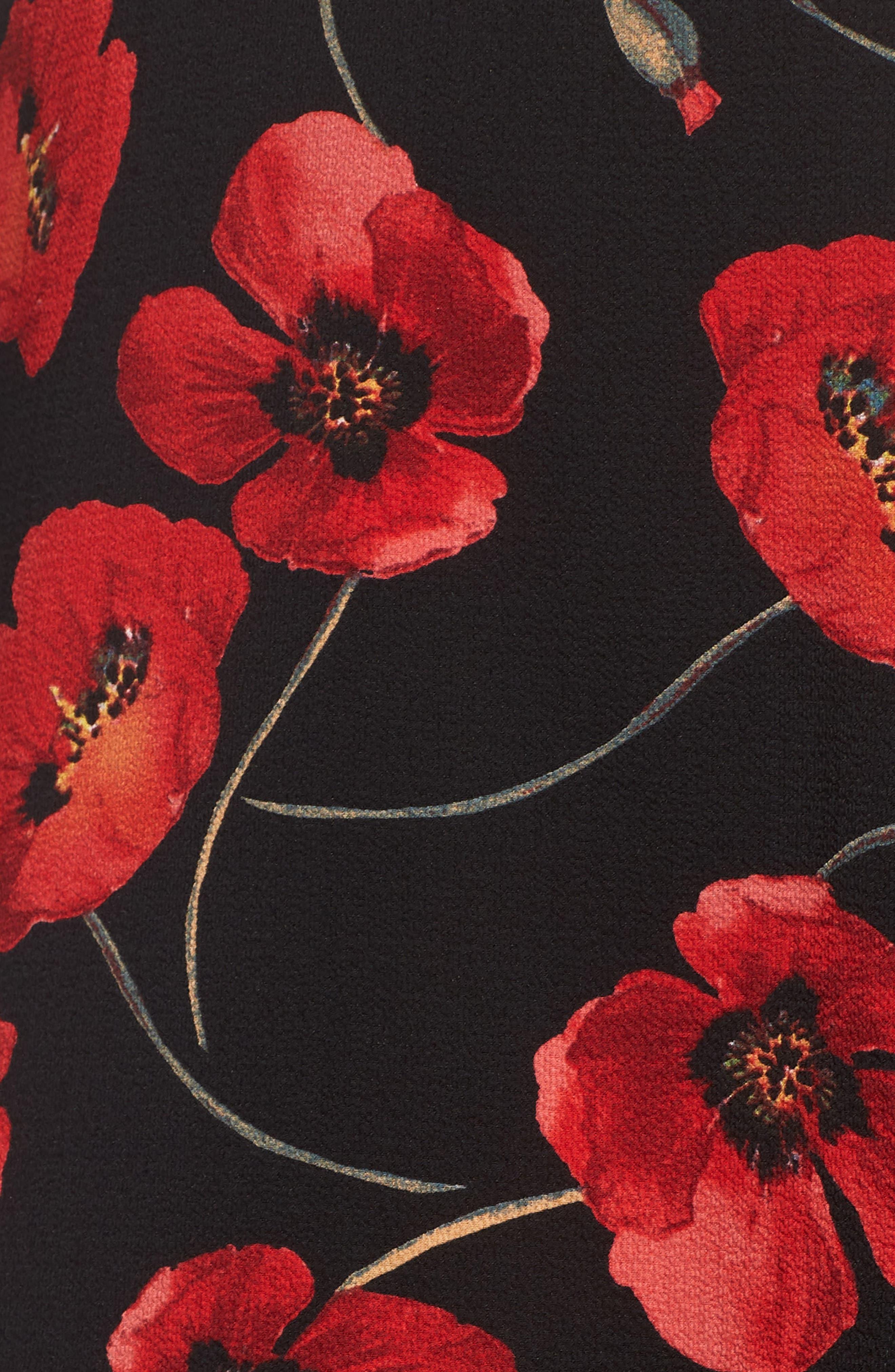 Floral Print Maxi Skirt,                             Alternate thumbnail 5, color,                             001