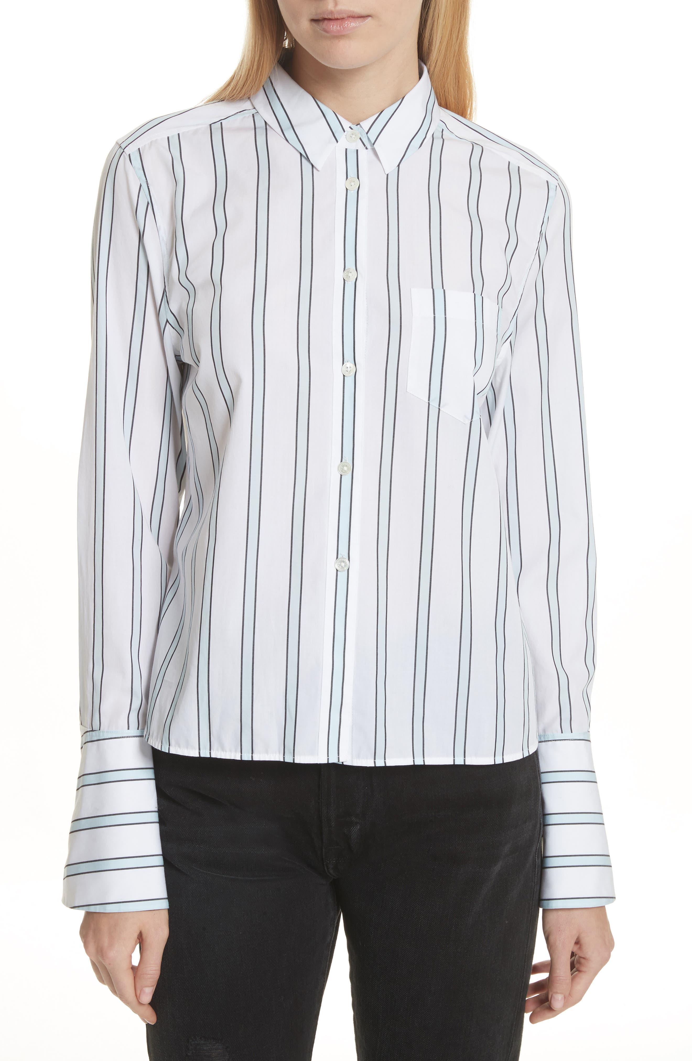 Huntley Stripe Cotton Shirt,                             Main thumbnail 1, color,                             157
