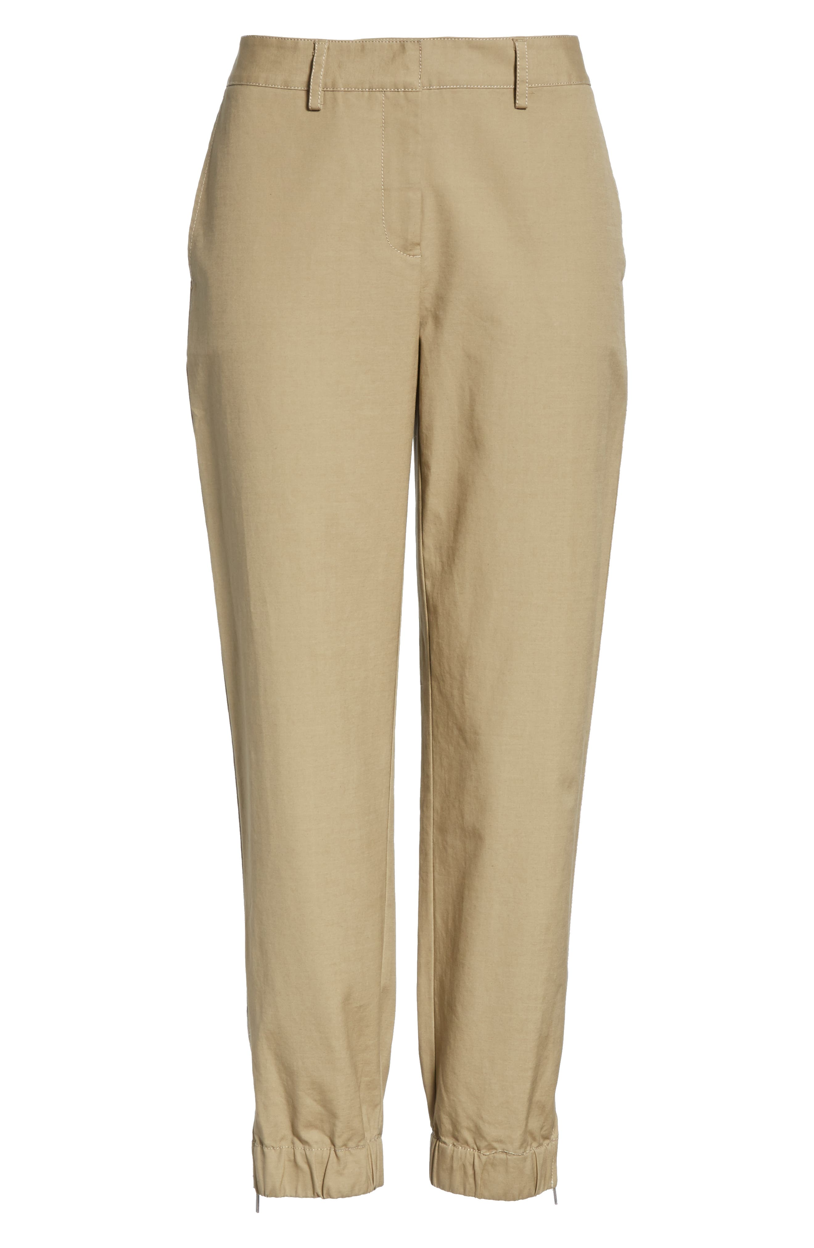 Zip Ankle Jogger Pants,                             Alternate thumbnail 6, color,                             TAN LEAD