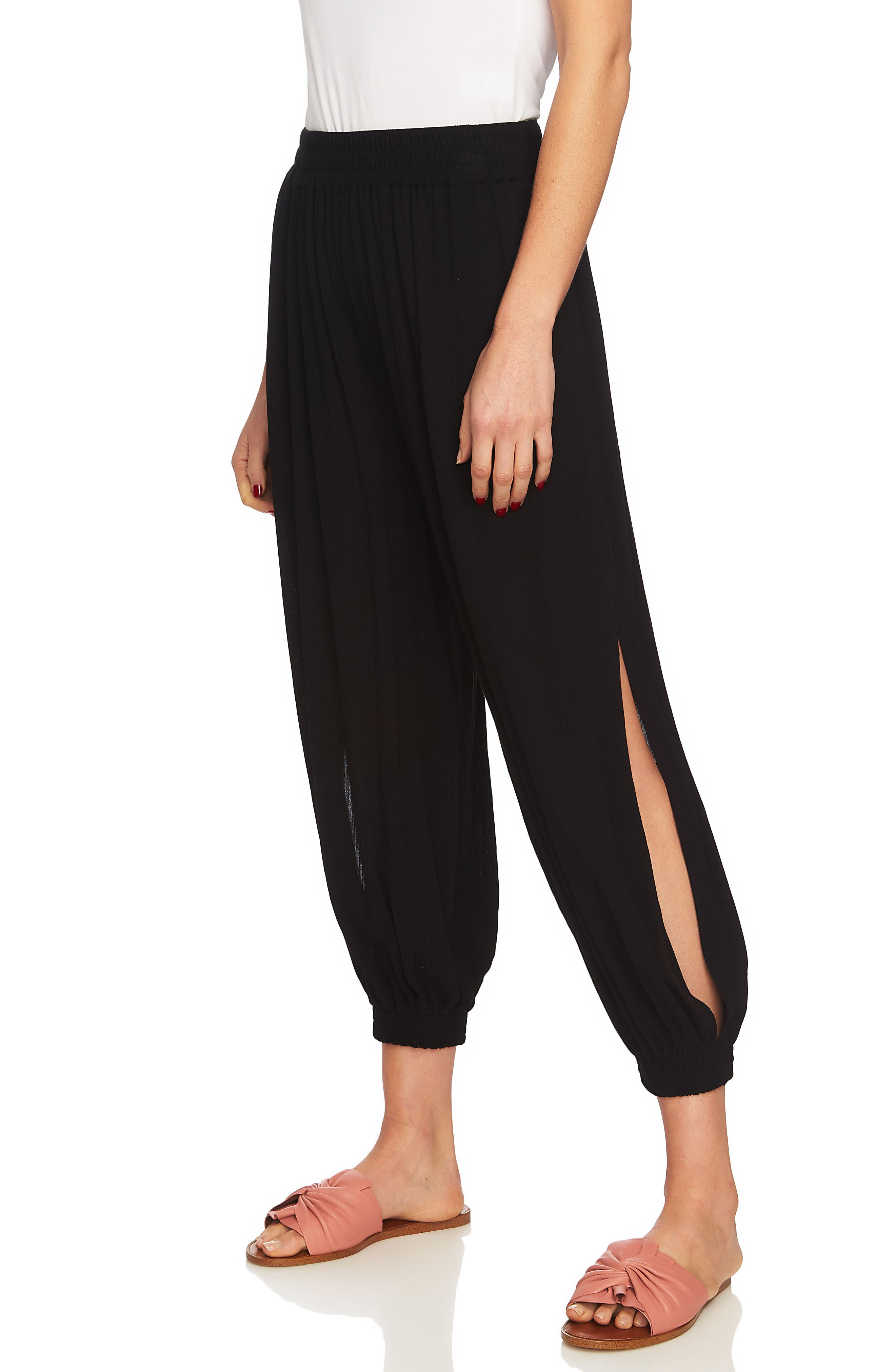 Smocked Cuff Harem Pants,                             Alternate thumbnail 4, color,                             RICH BLACK