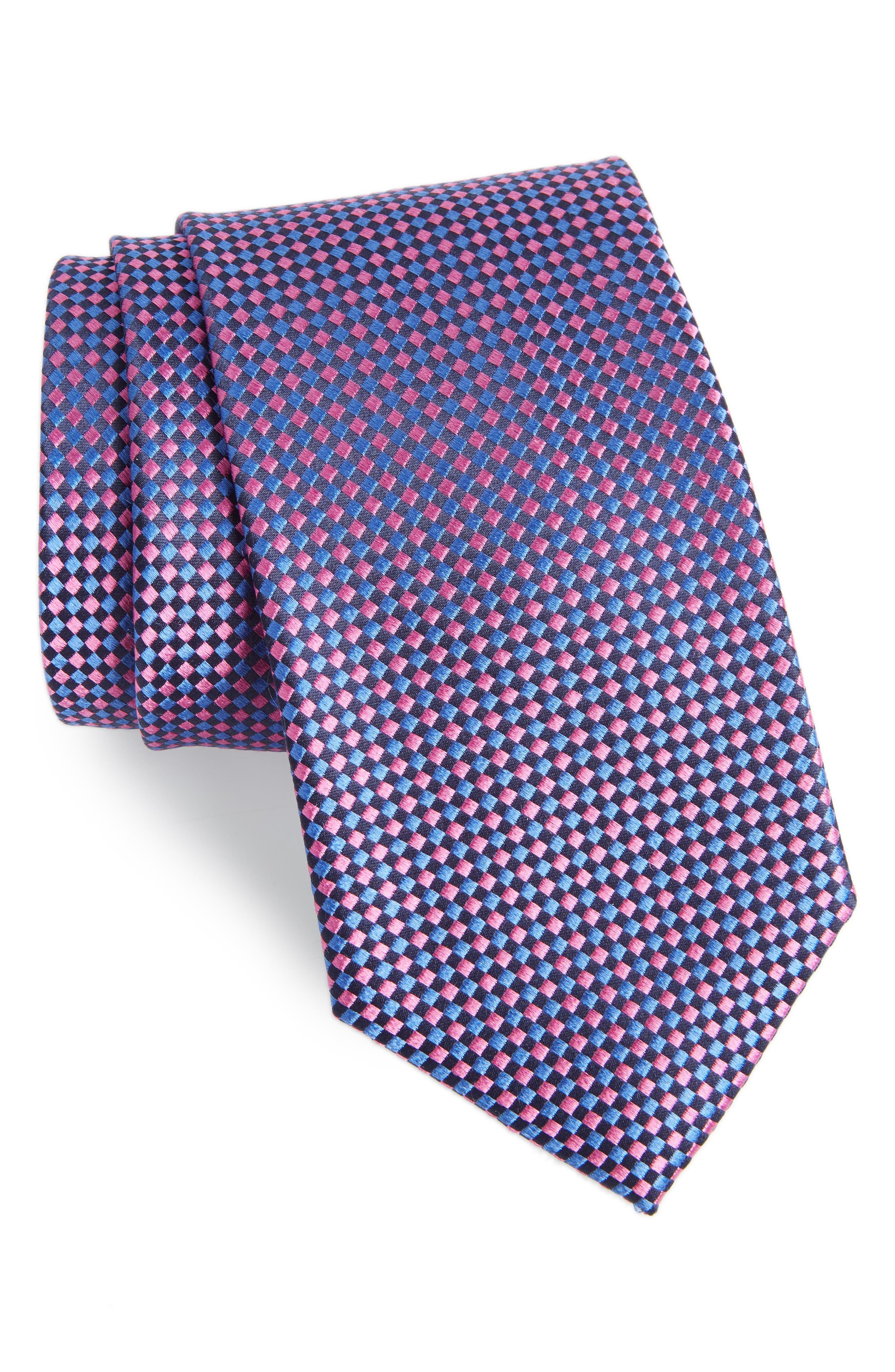Check Silk Tie,                             Main thumbnail 1, color,                             BRIGHT NAVY