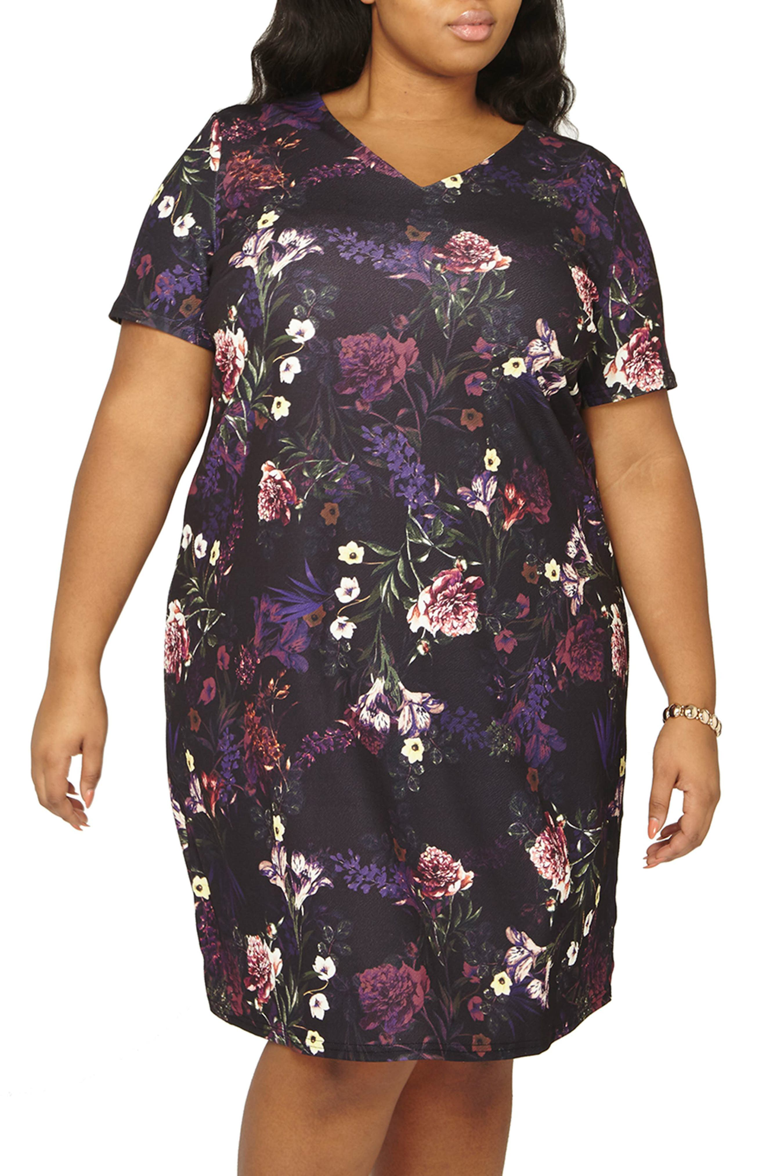 Floral Print Shift Dress,                             Alternate thumbnail 5, color,                             500