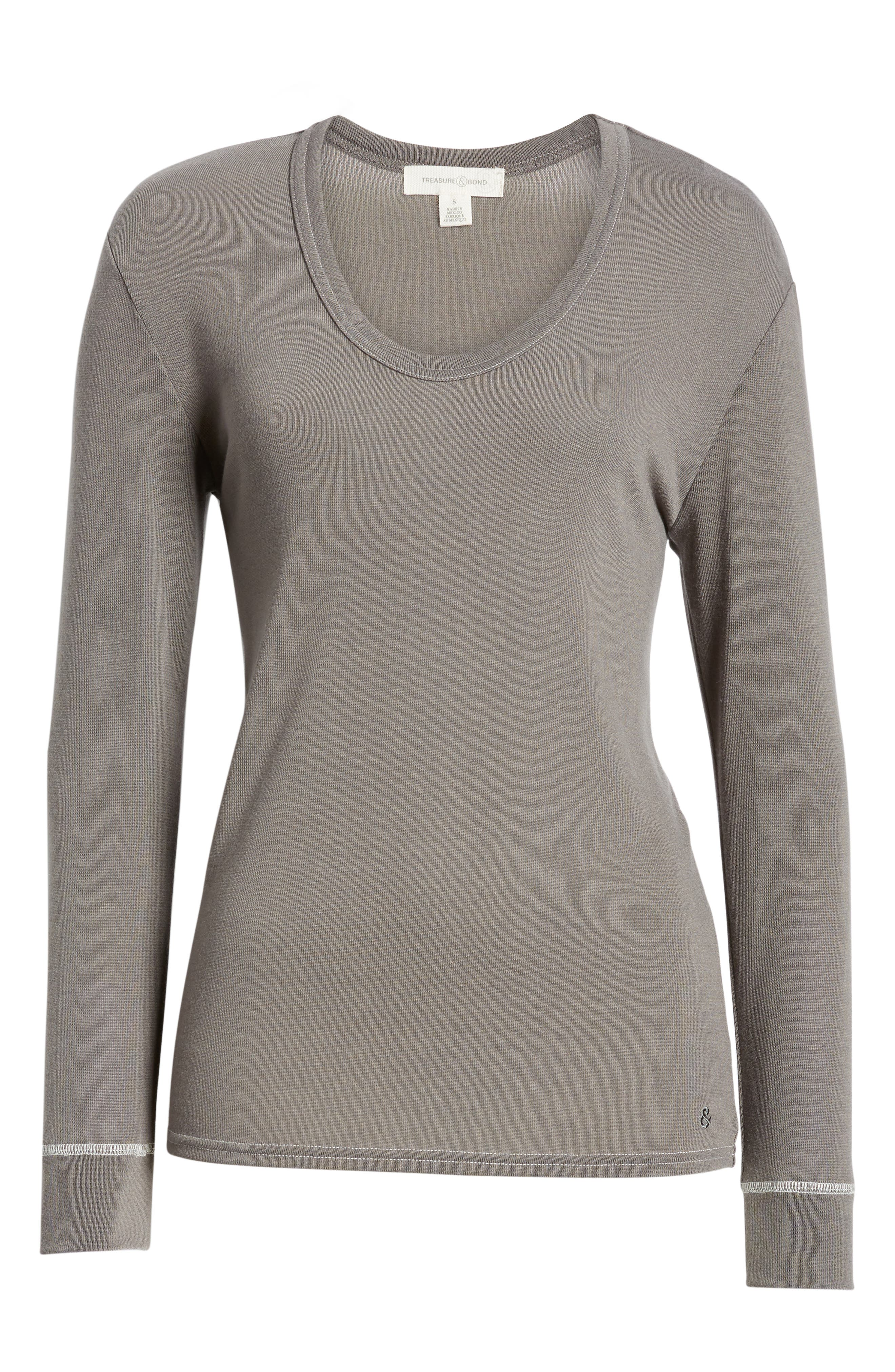 Ribbed U-Neck Top,                             Alternate thumbnail 6, color,                             GREY CHARCOAL