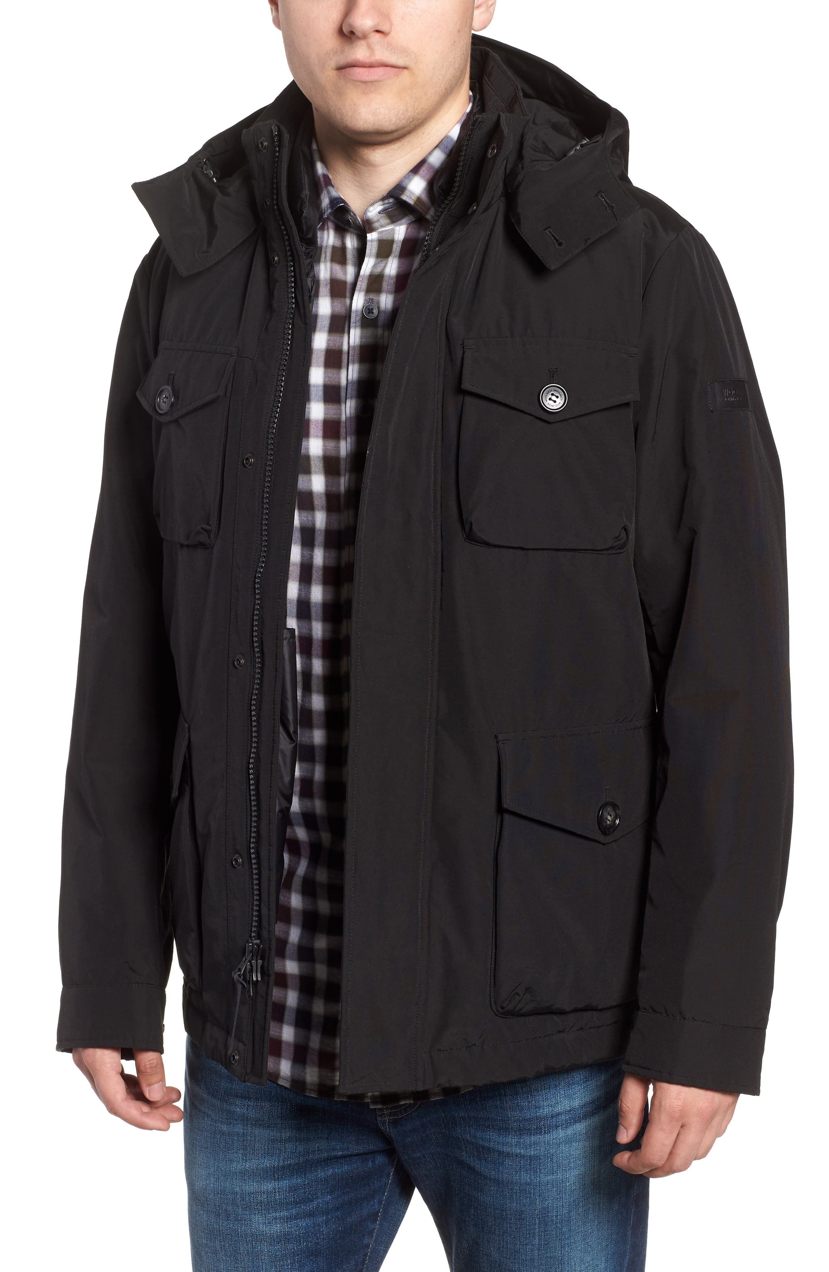 Camou Field Jacket,                             Main thumbnail 1, color,                             BLACK