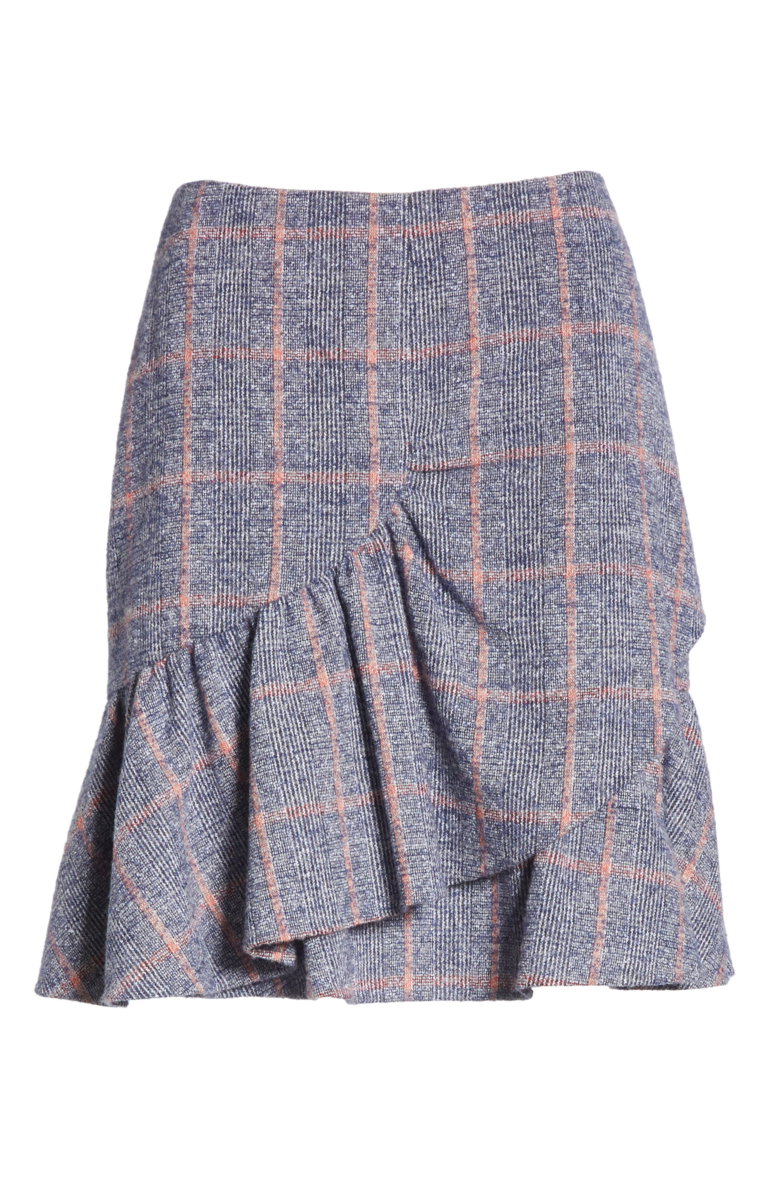 Cotton Wool Blend Plaid Ruffle Mini Skirt,                             Alternate thumbnail 6, color,                             482