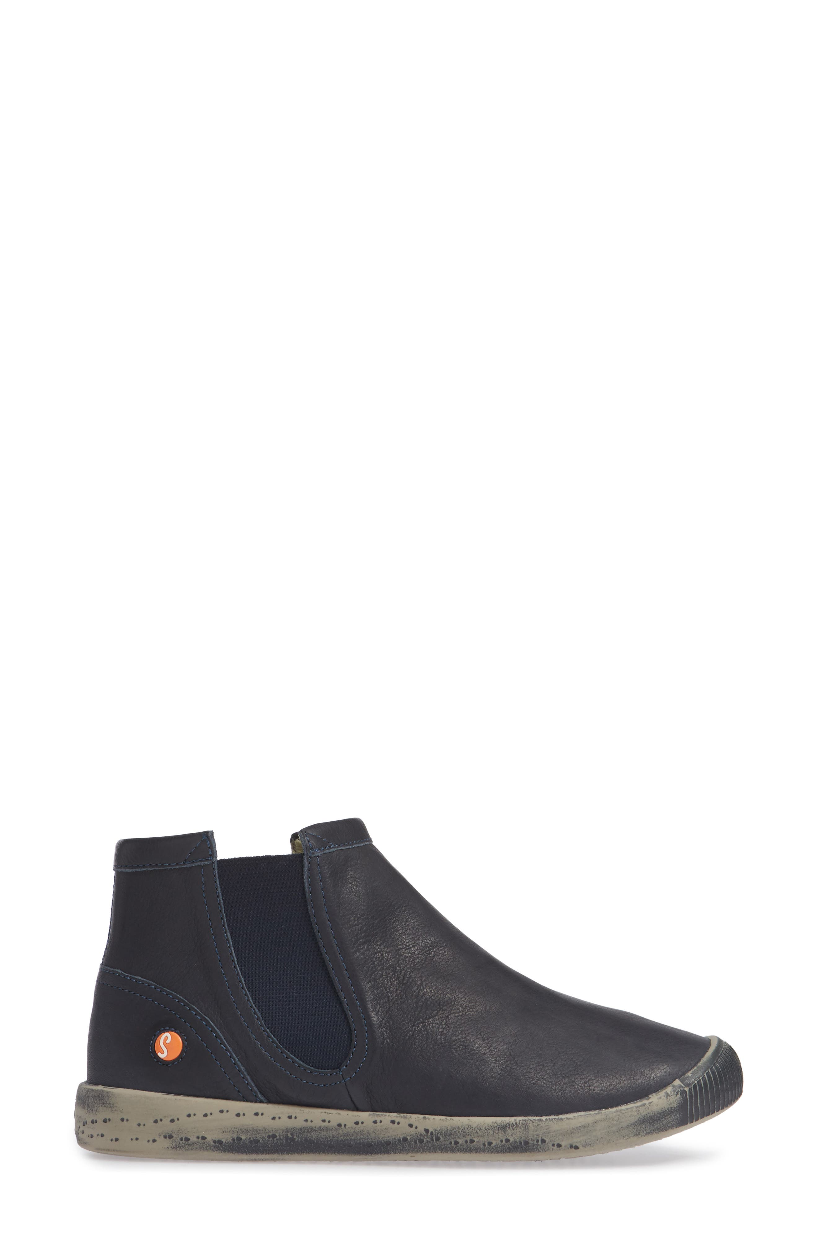 SOFTINOS BY FLY LONDON,                             Ici Sneaker,                             Alternate thumbnail 3, color,                             NAVY SMOOTH LEATHER