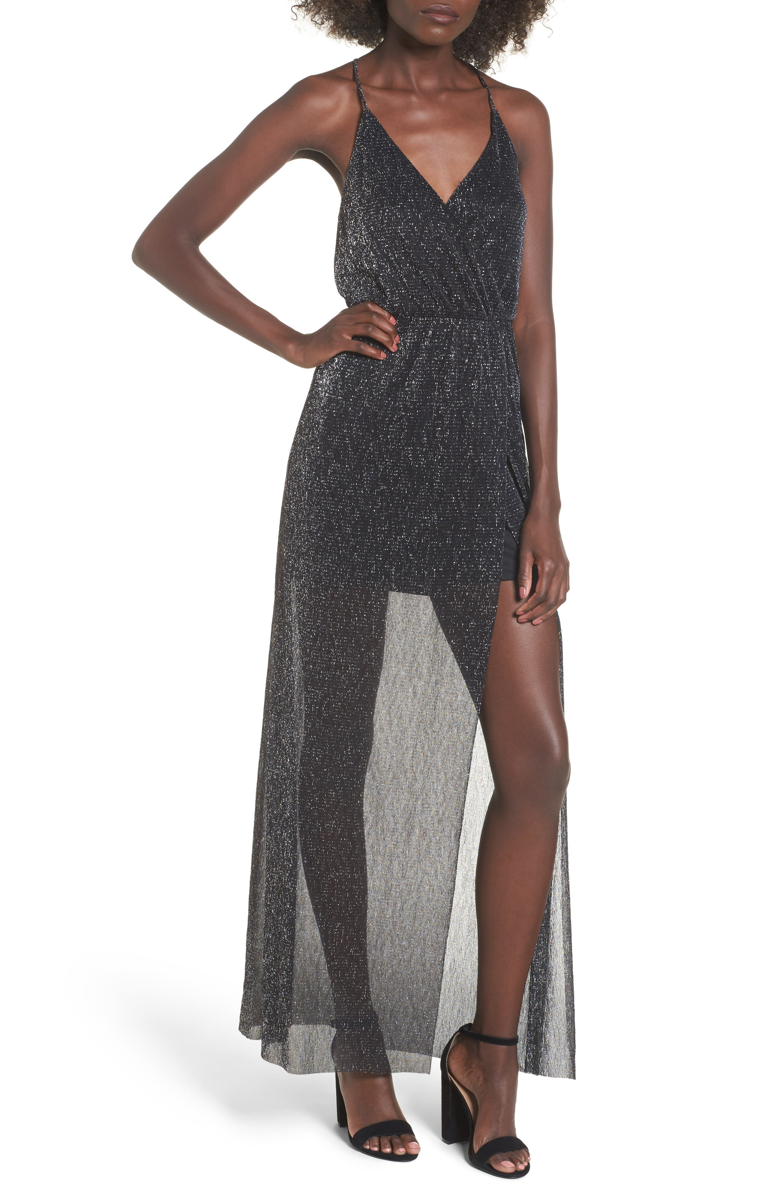 Metallic Surplice Maxi Dress,                             Main thumbnail 1, color,