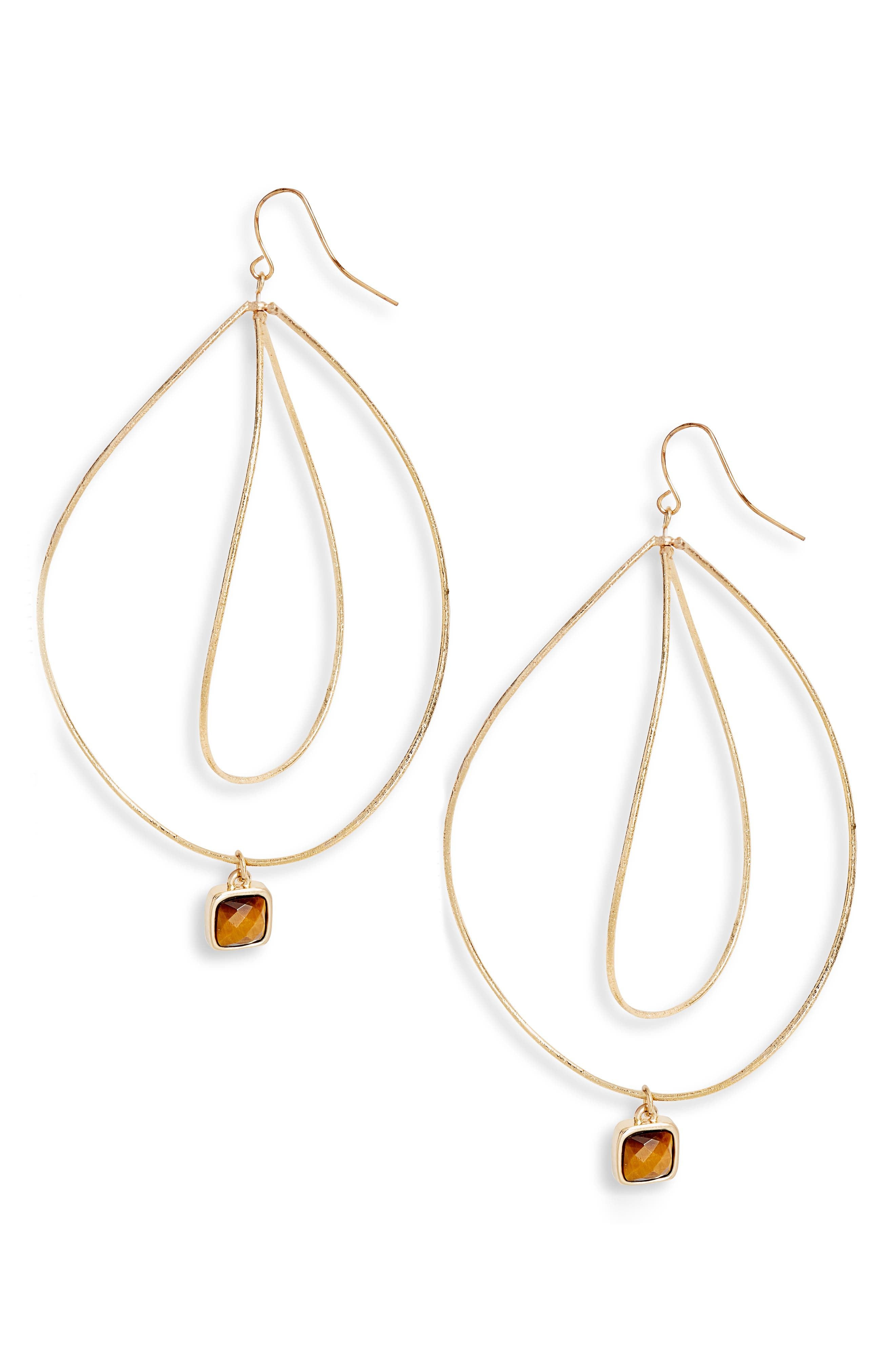 ELISE M. Viola Wave Crystal Drop Earrings in Gold/ Tigers Eye