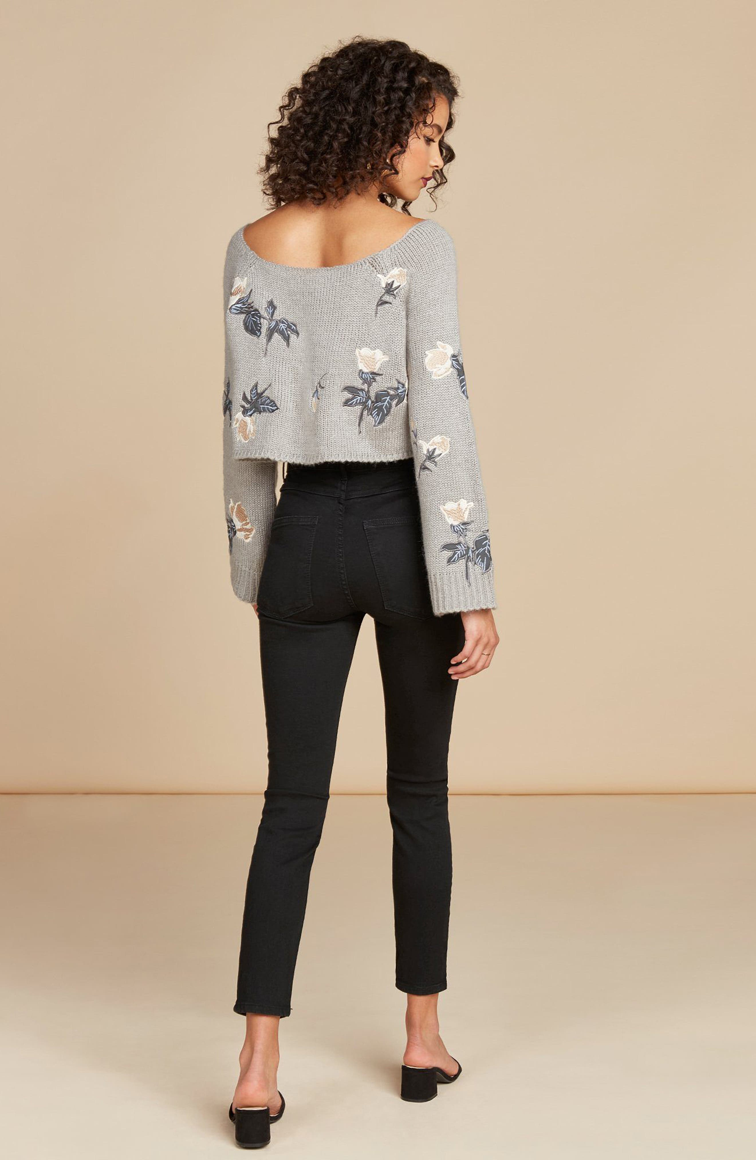 Floral Detail Bell Sleeve Crop Sweater,                             Alternate thumbnail 8, color,                             060