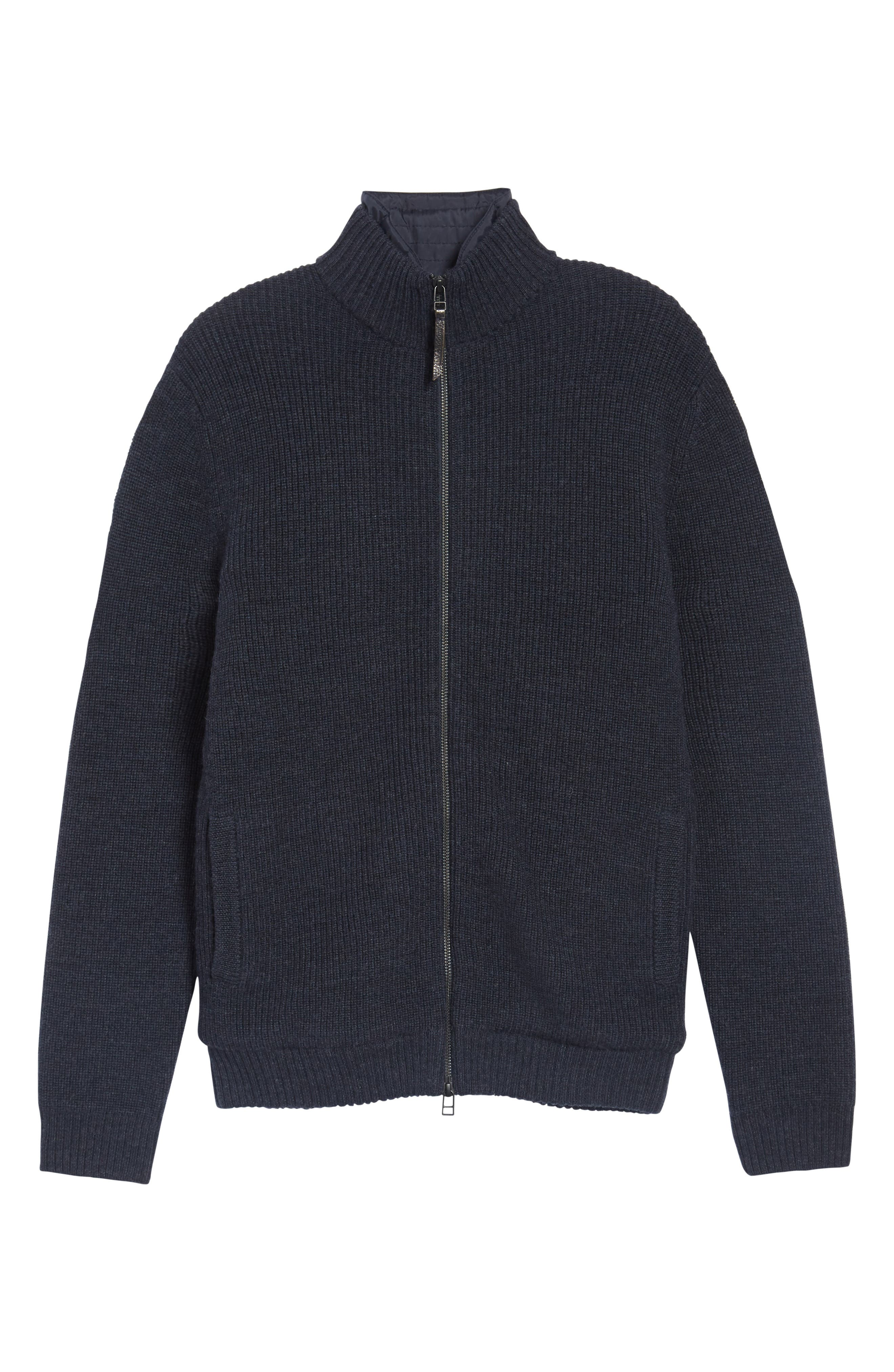 Camerons Track Zip Wool Sweater,                             Alternate thumbnail 6, color,                             MIDNIGHT