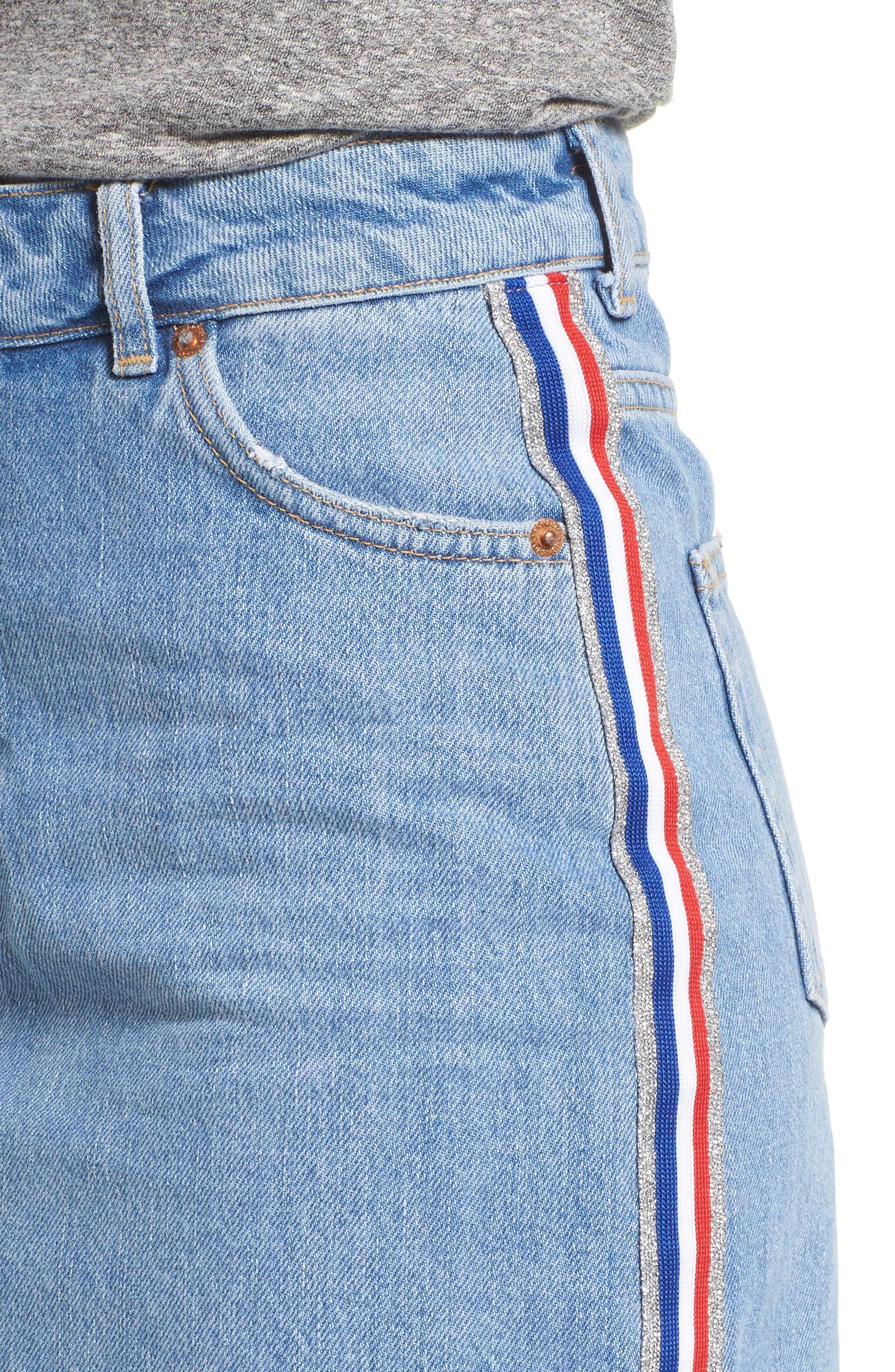 MOTO Stripe Denim Skirt,                             Alternate thumbnail 4, color,                             450
