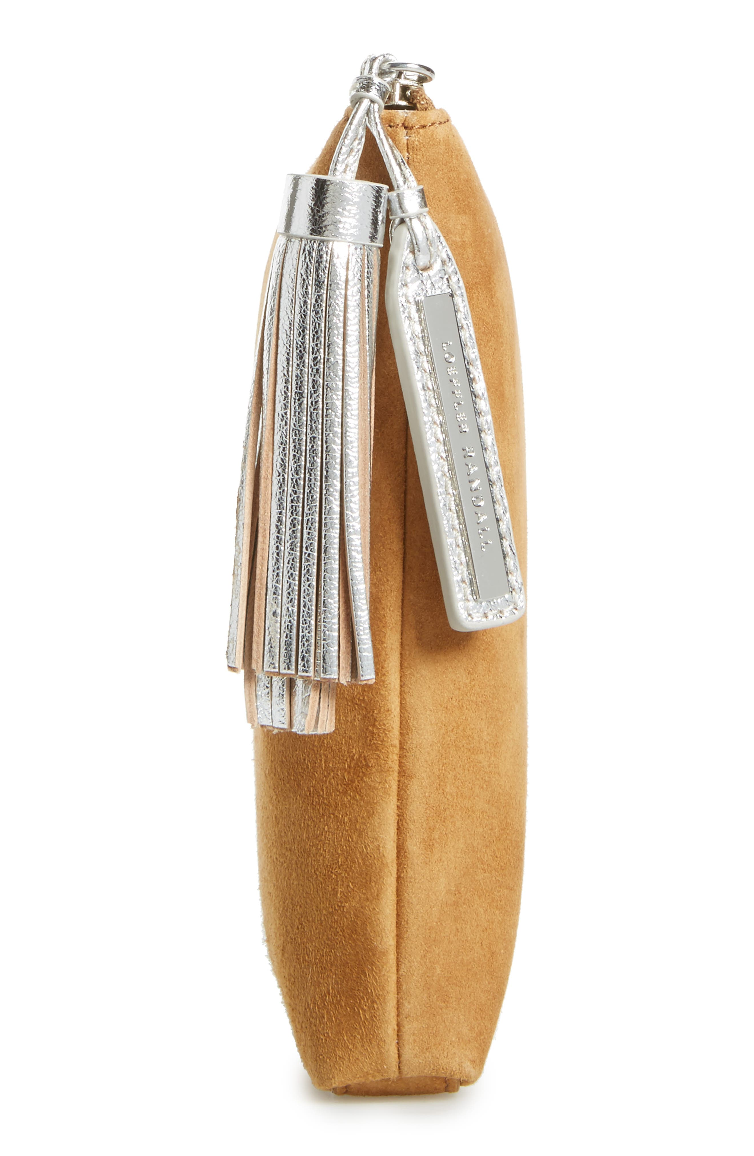 Tassel Metallic Leather & Suede Pouch,                             Alternate thumbnail 5, color,                             269
