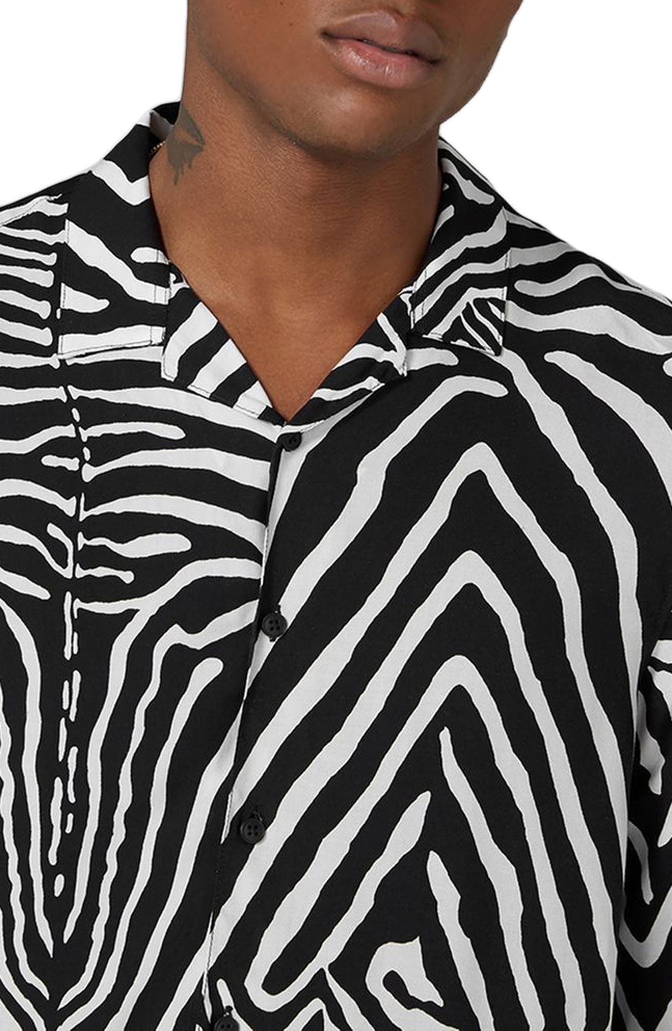 Classic Fit Zebra Print Revere Shirt,                             Alternate thumbnail 3, color,                             001