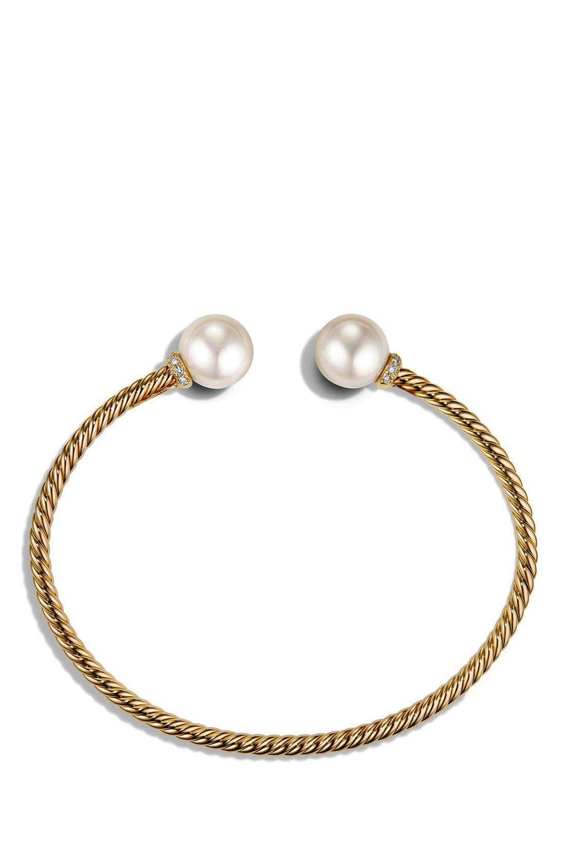 'Solari' Bead Bracelet with Diamonds and Pearls in 18K Gold,                             Alternate thumbnail 3, color,                             PEARL