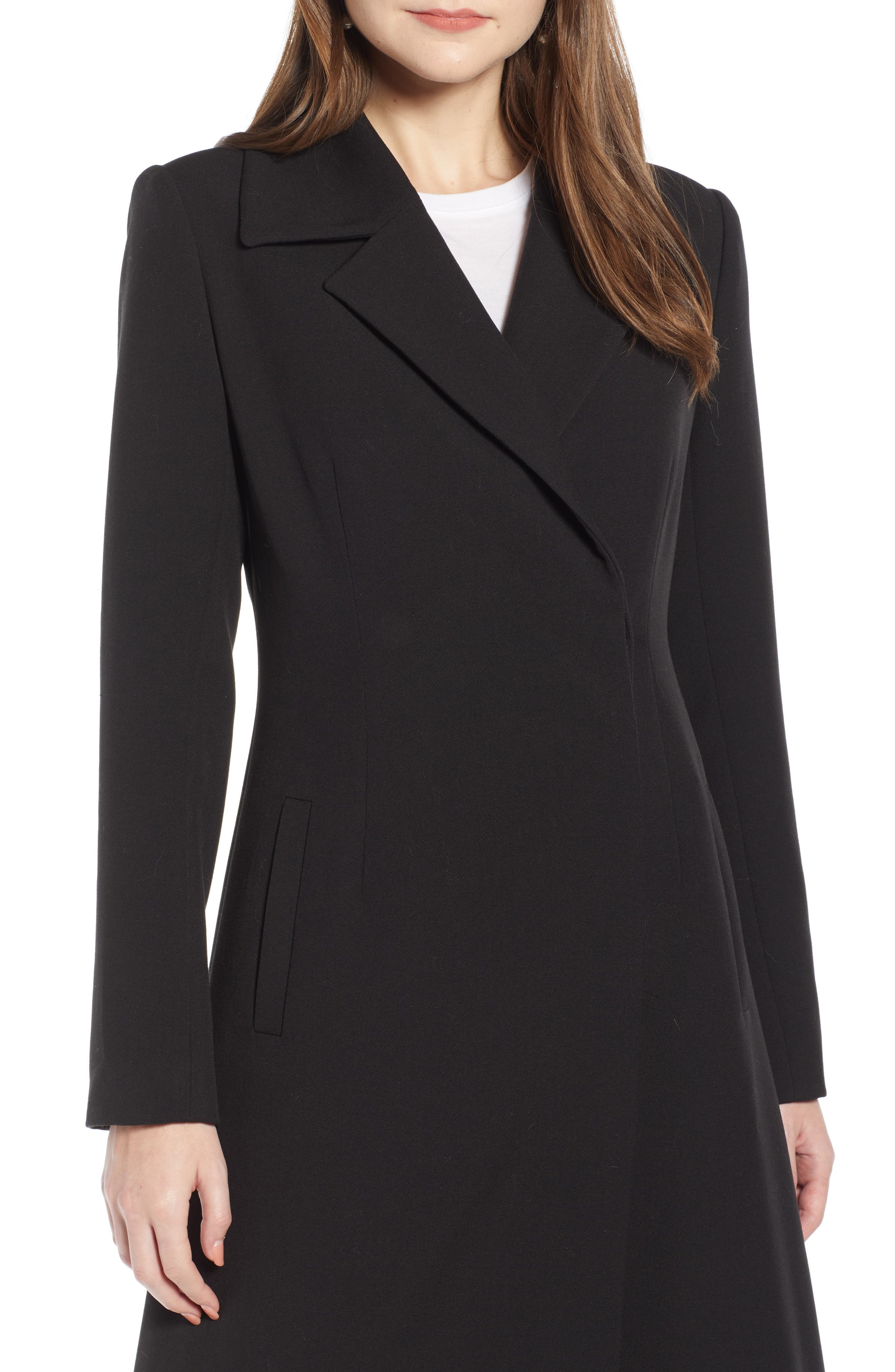 Long Feminine Coat,                             Alternate thumbnail 4, color,                             BLACK
