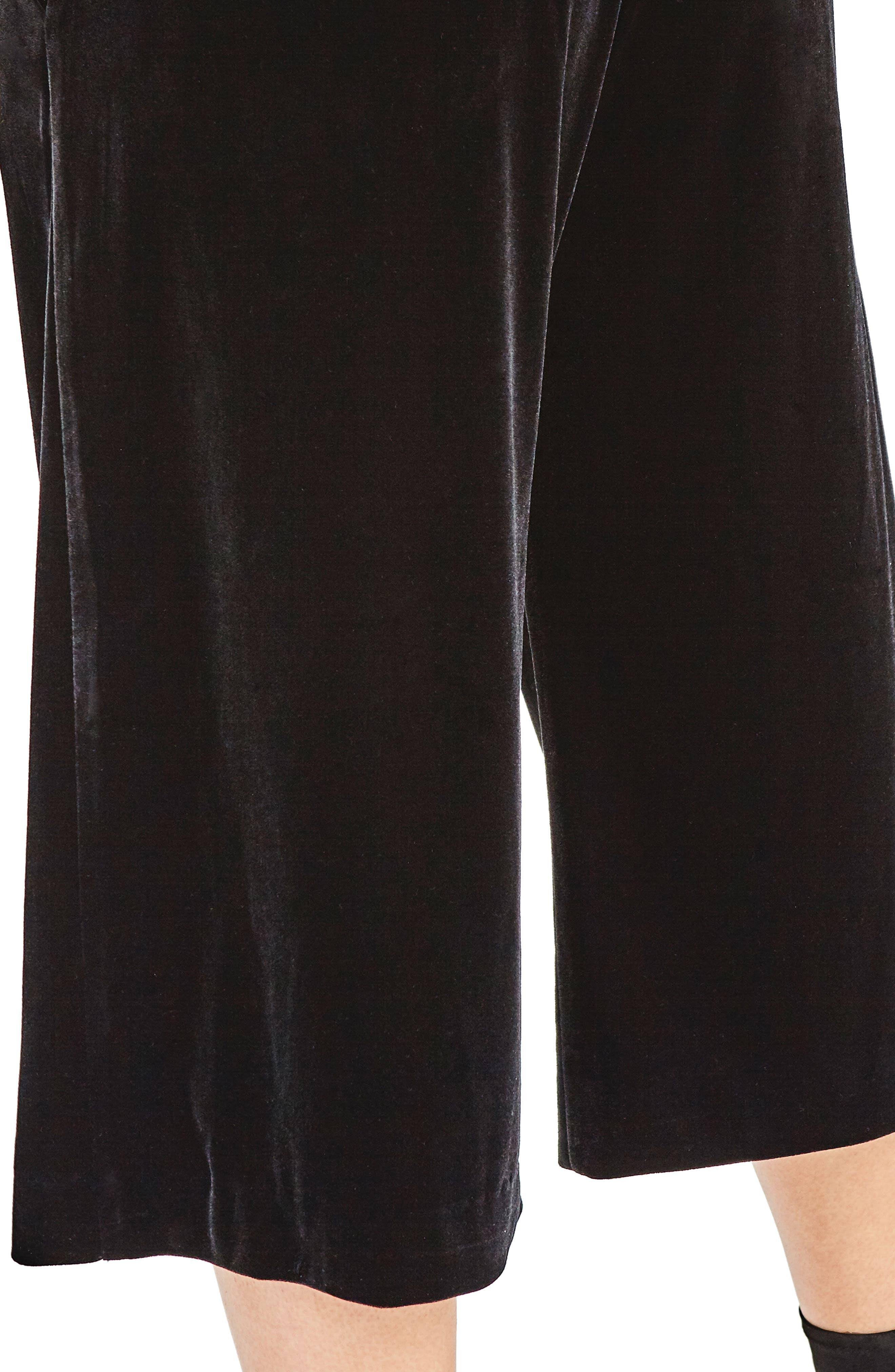 Black Velvet Culottes,                             Alternate thumbnail 4, color,