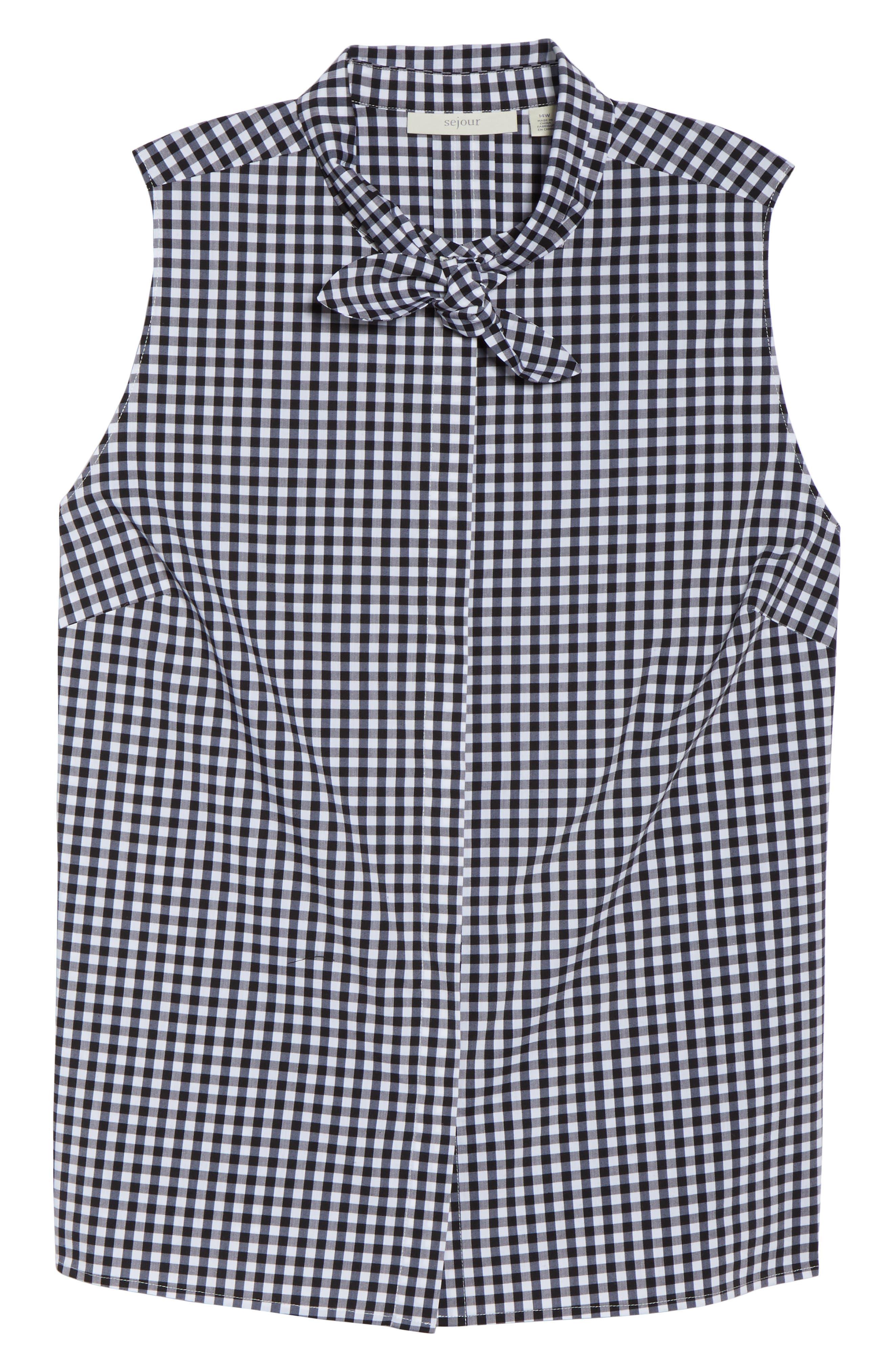 Tie Collar Cotton Blend Top,                             Alternate thumbnail 7, color,                             001