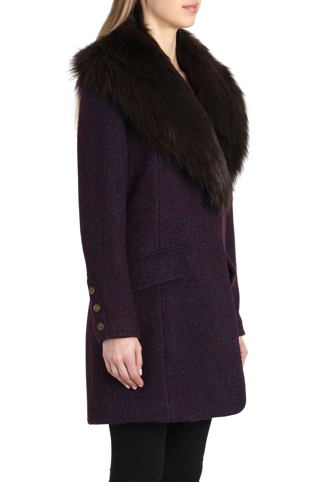 'Holly' Faux Fur Collar Bouclé Coat,                             Alternate thumbnail 3, color,                             BURGUNDY/ NAVY