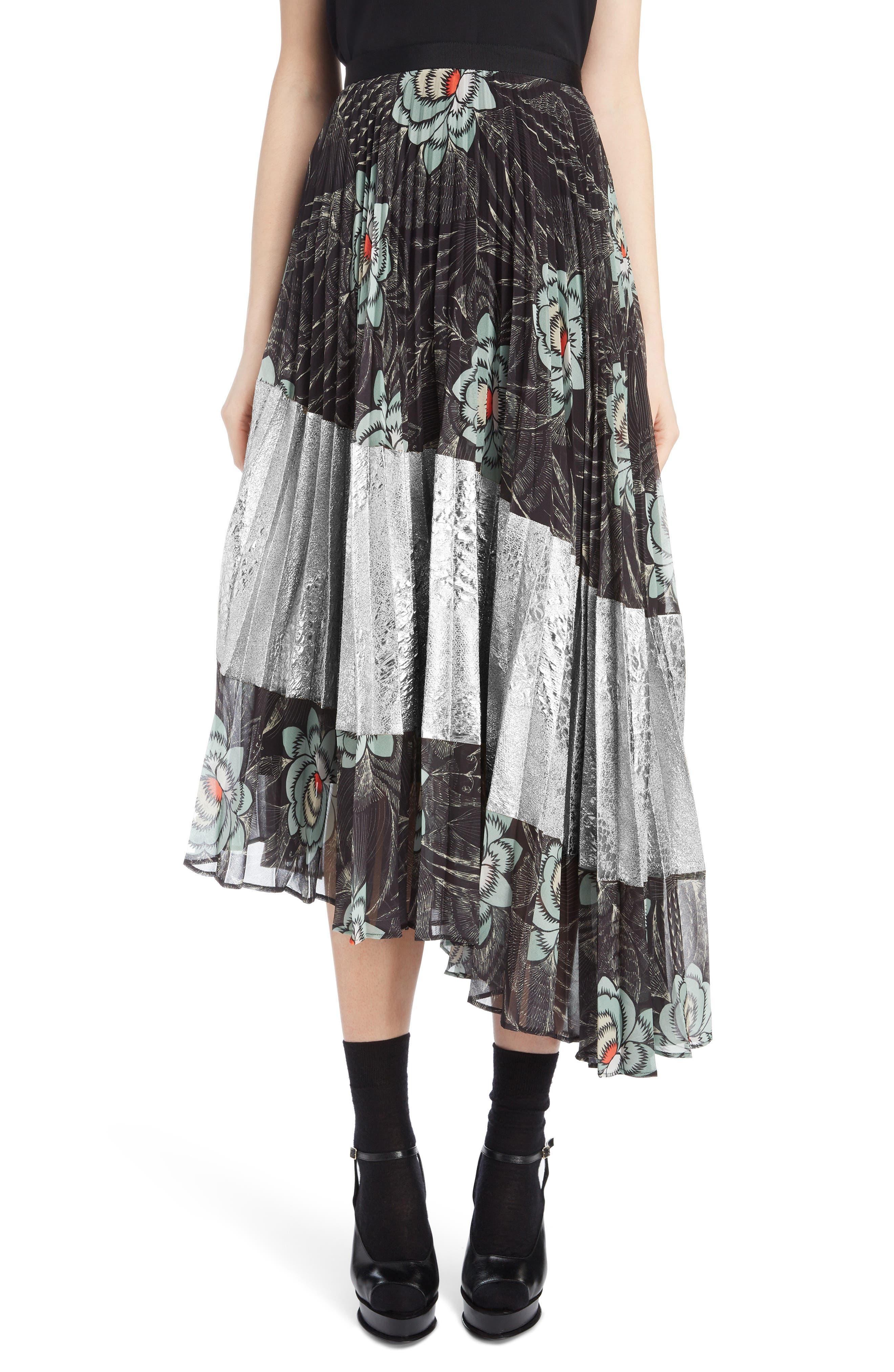 Pleated Floral Print & Metallic Skirt,                         Main,                         color, BLACK
