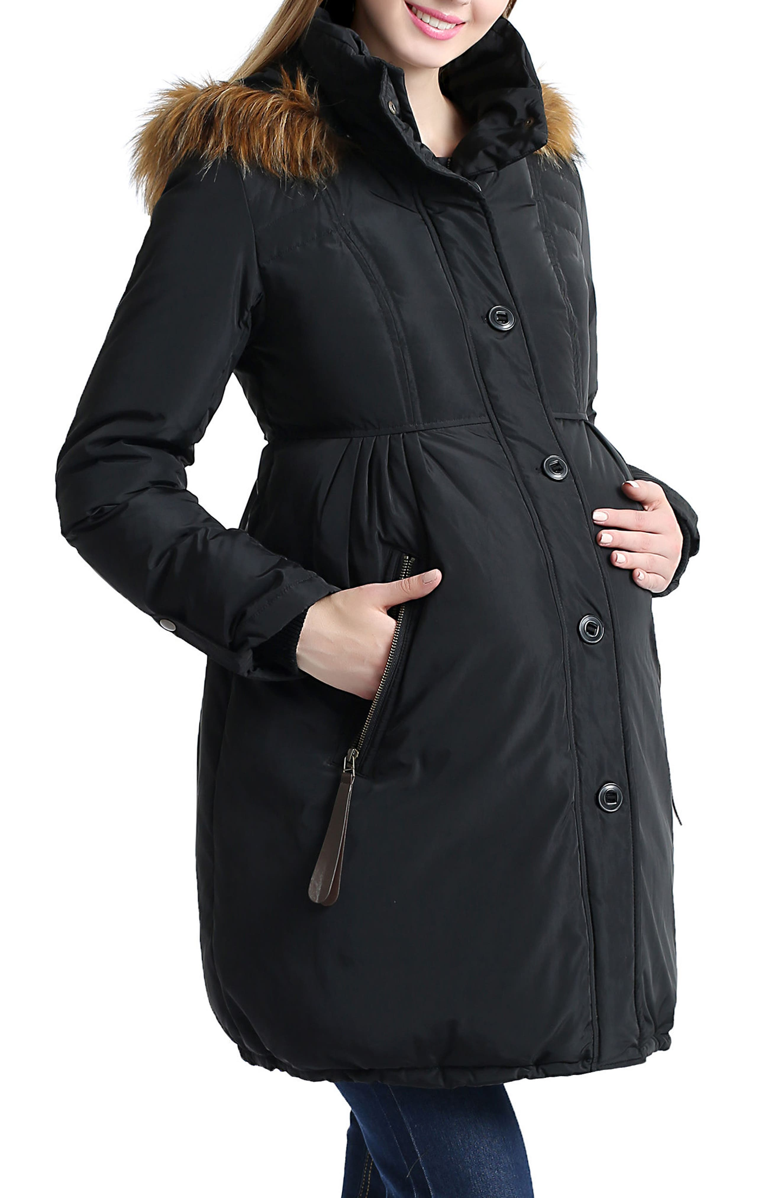 Lilly Water Resistant Down Maternity Parka,                             Alternate thumbnail 3, color,                             BLACK