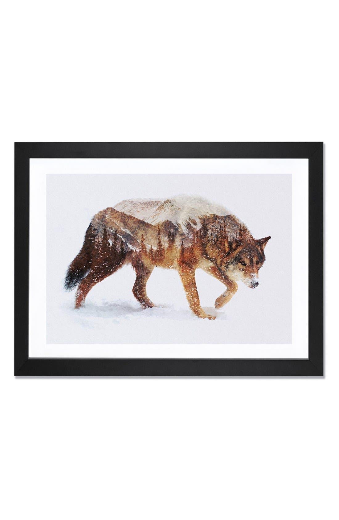'Arctic Wolf' Framed Fine Art Print,                             Main thumbnail 1, color,                             BROWN