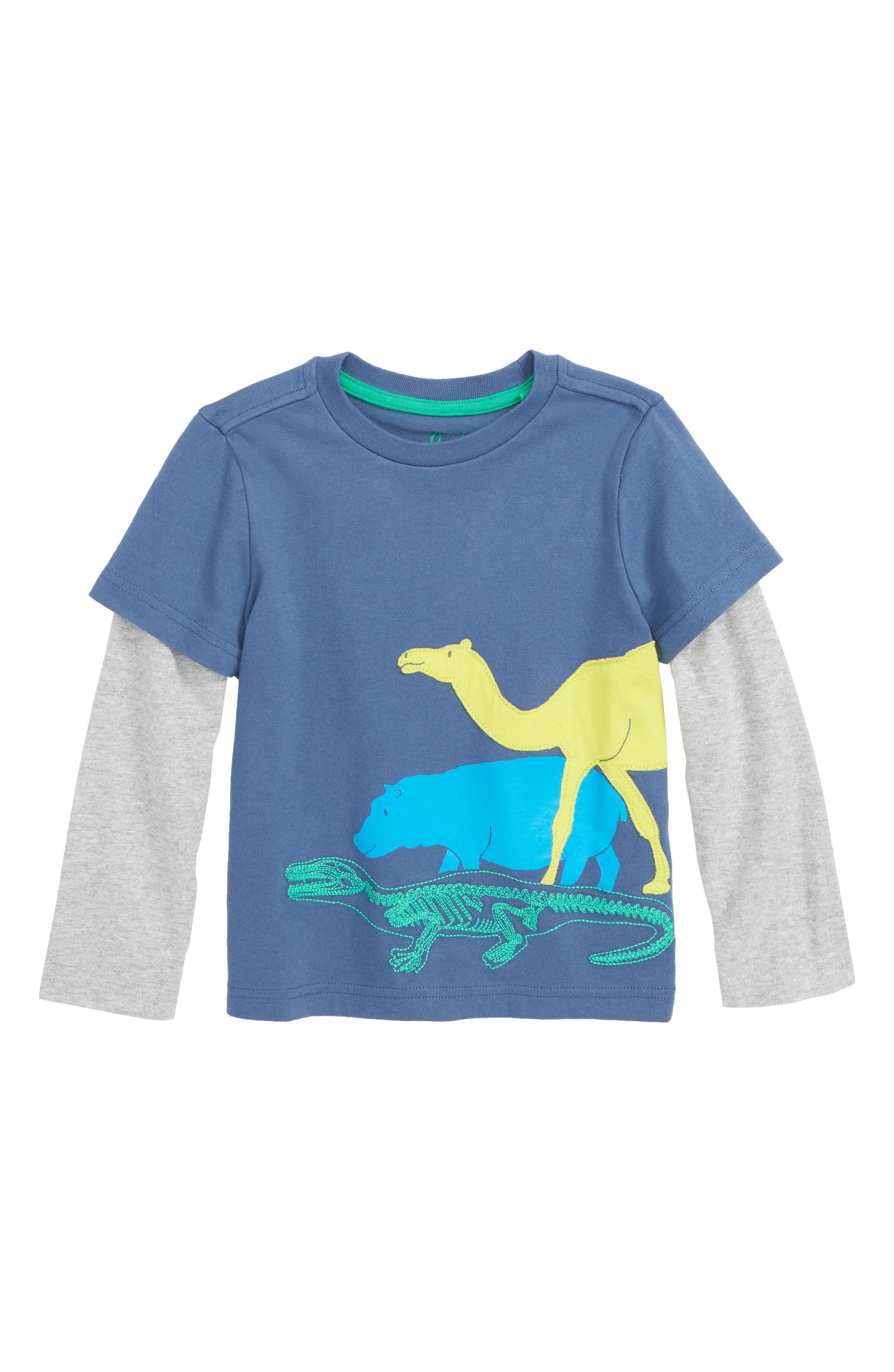 Textured Mammals Layered T-Shirt, Main, color, LAGOON BLUE