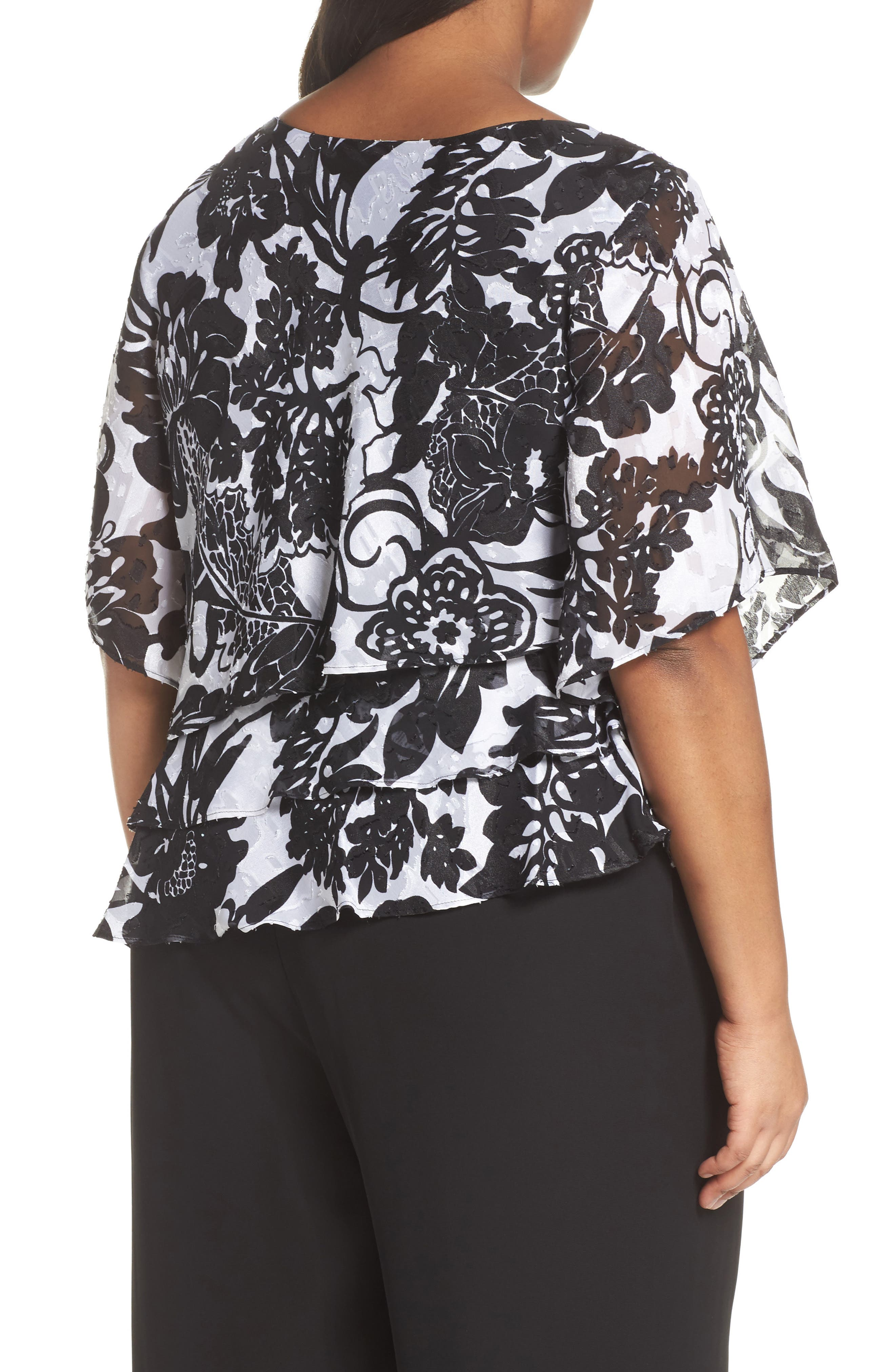 Print Tiered Blouse,                             Alternate thumbnail 4, color,