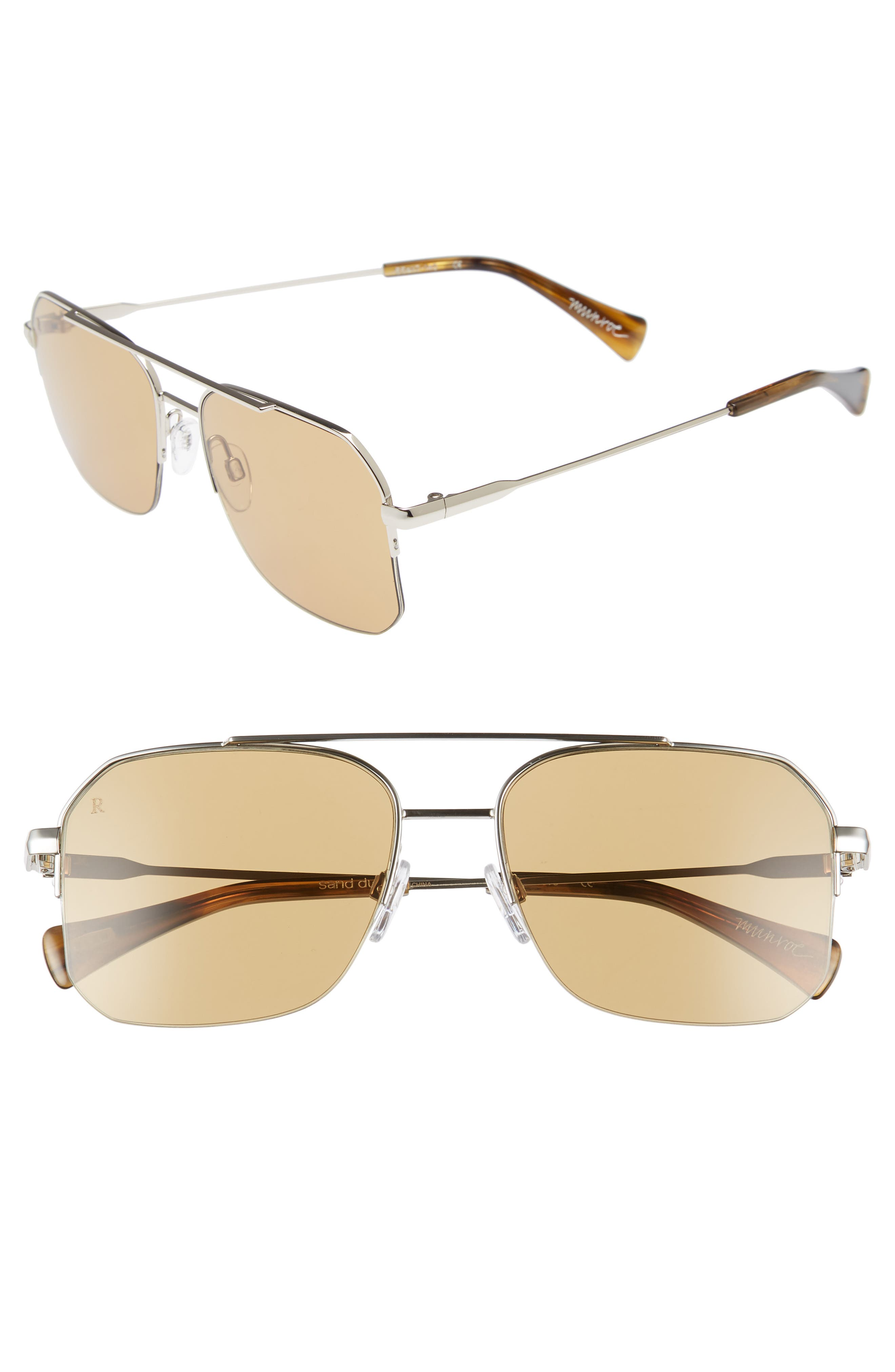 Munroe 55mm Square Aviator Sunglasses,                             Main thumbnail 1, color,                             SAND DUNE