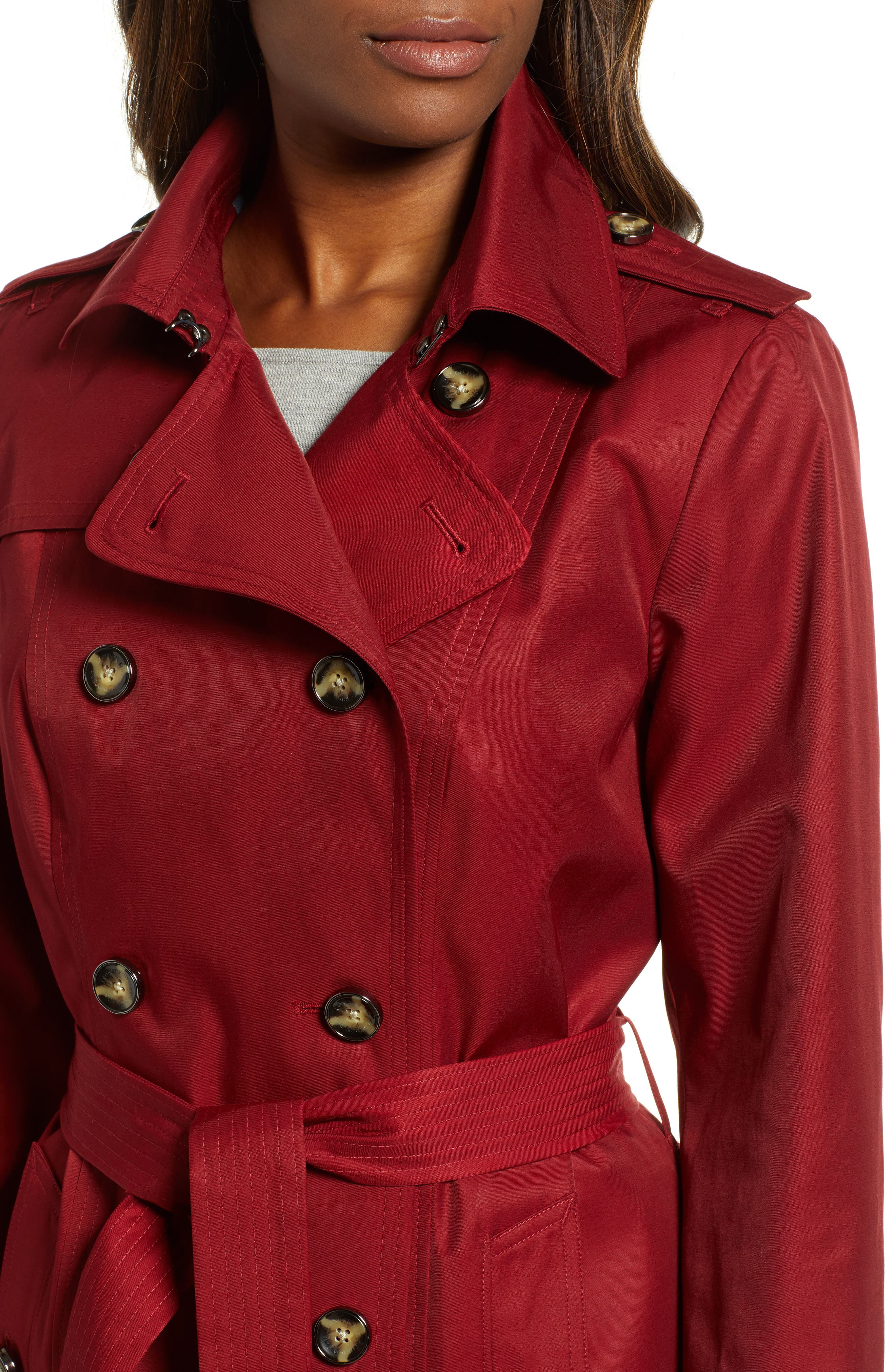 Double Breasted Trench Coat,                             Alternate thumbnail 4, color,                             RED