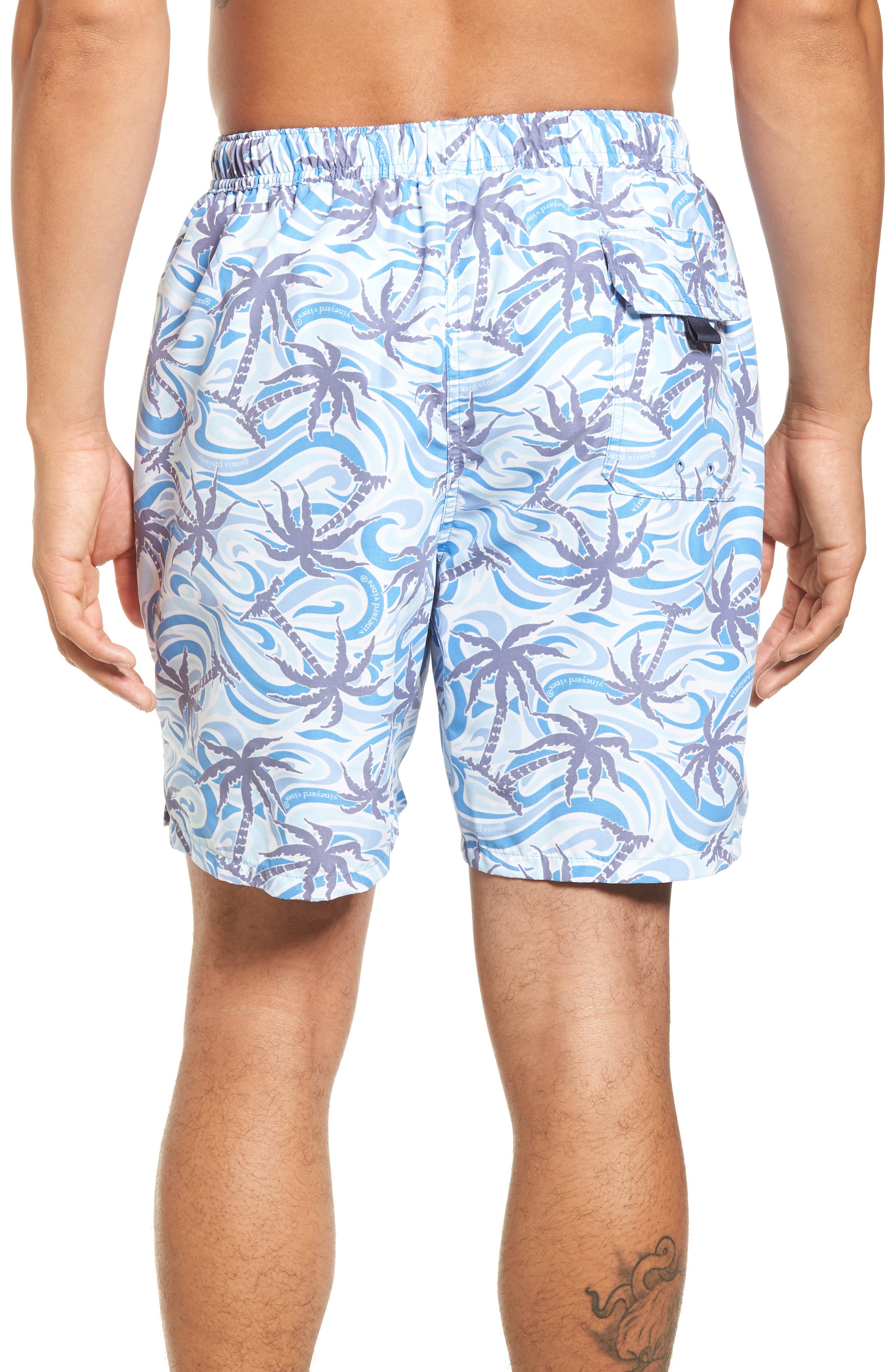 Chappy Wave Palm Tree Swim Trunks,                             Alternate thumbnail 2, color,                             456