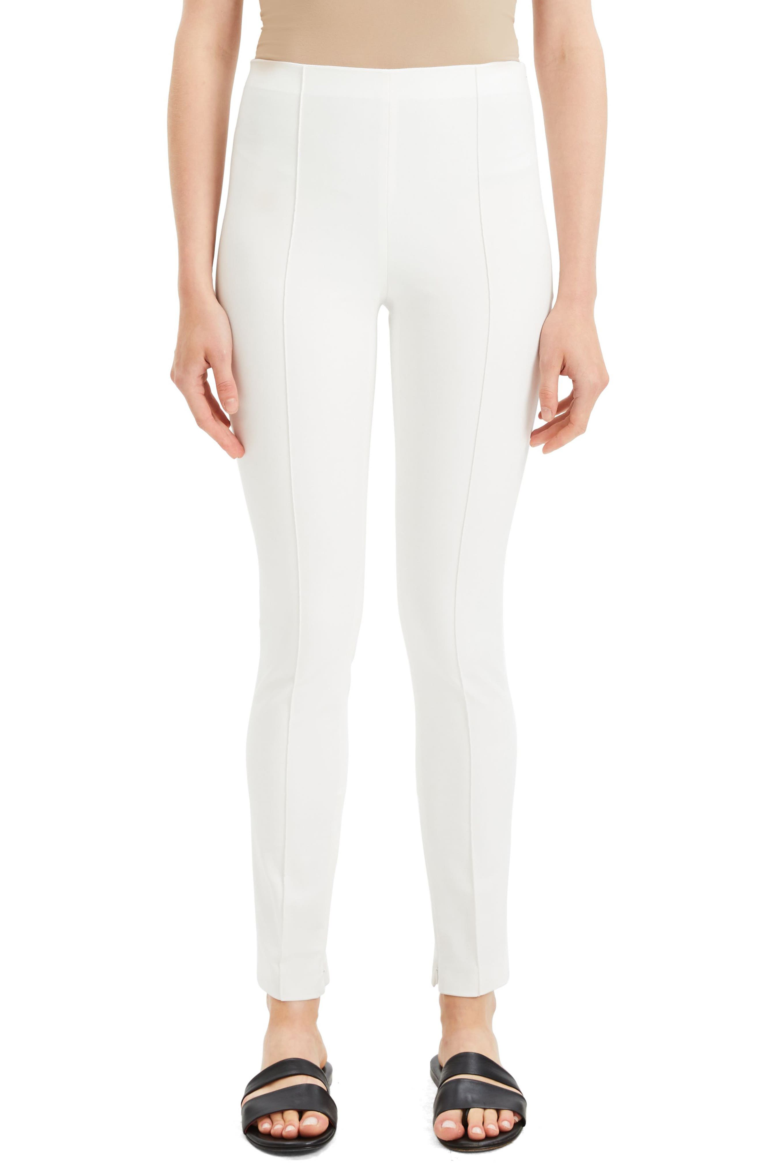 Theory Skinny Seamed Stretch Cotton Leggings, White