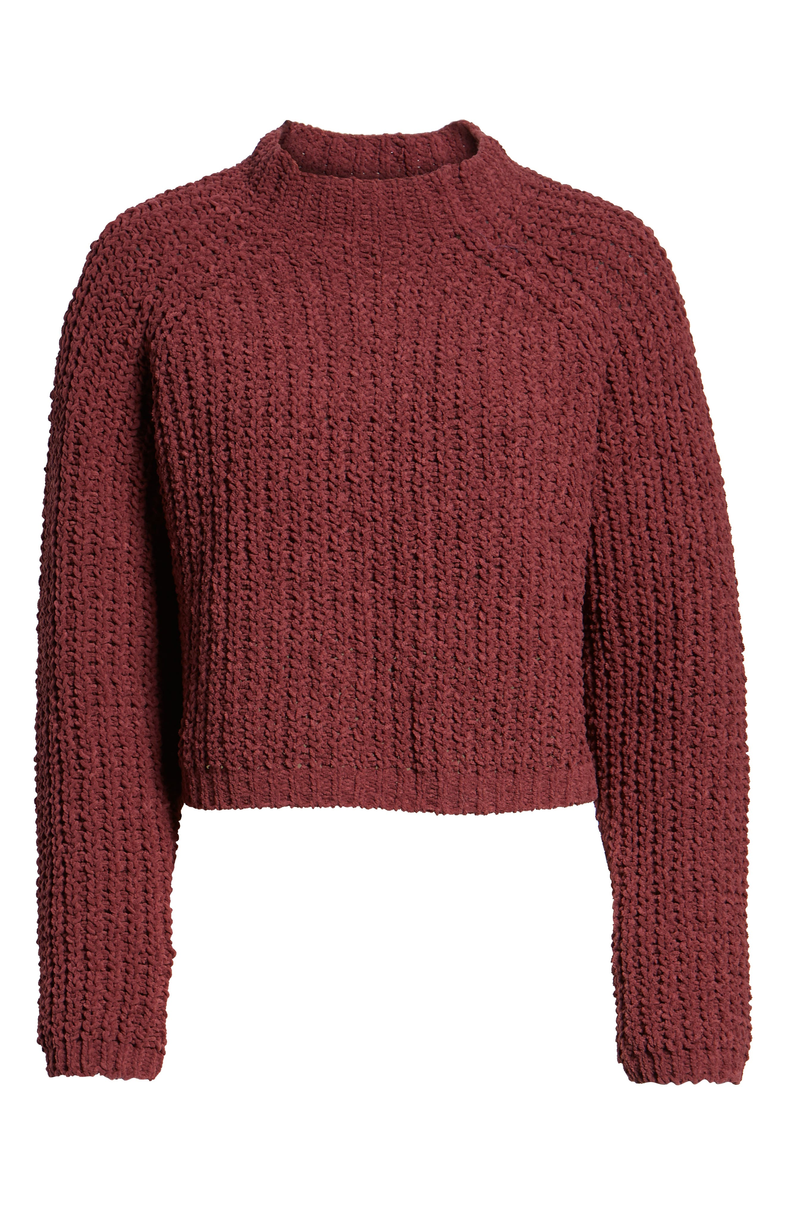 Chenille Sweater,                             Alternate thumbnail 6, color,                             RED RUMBA