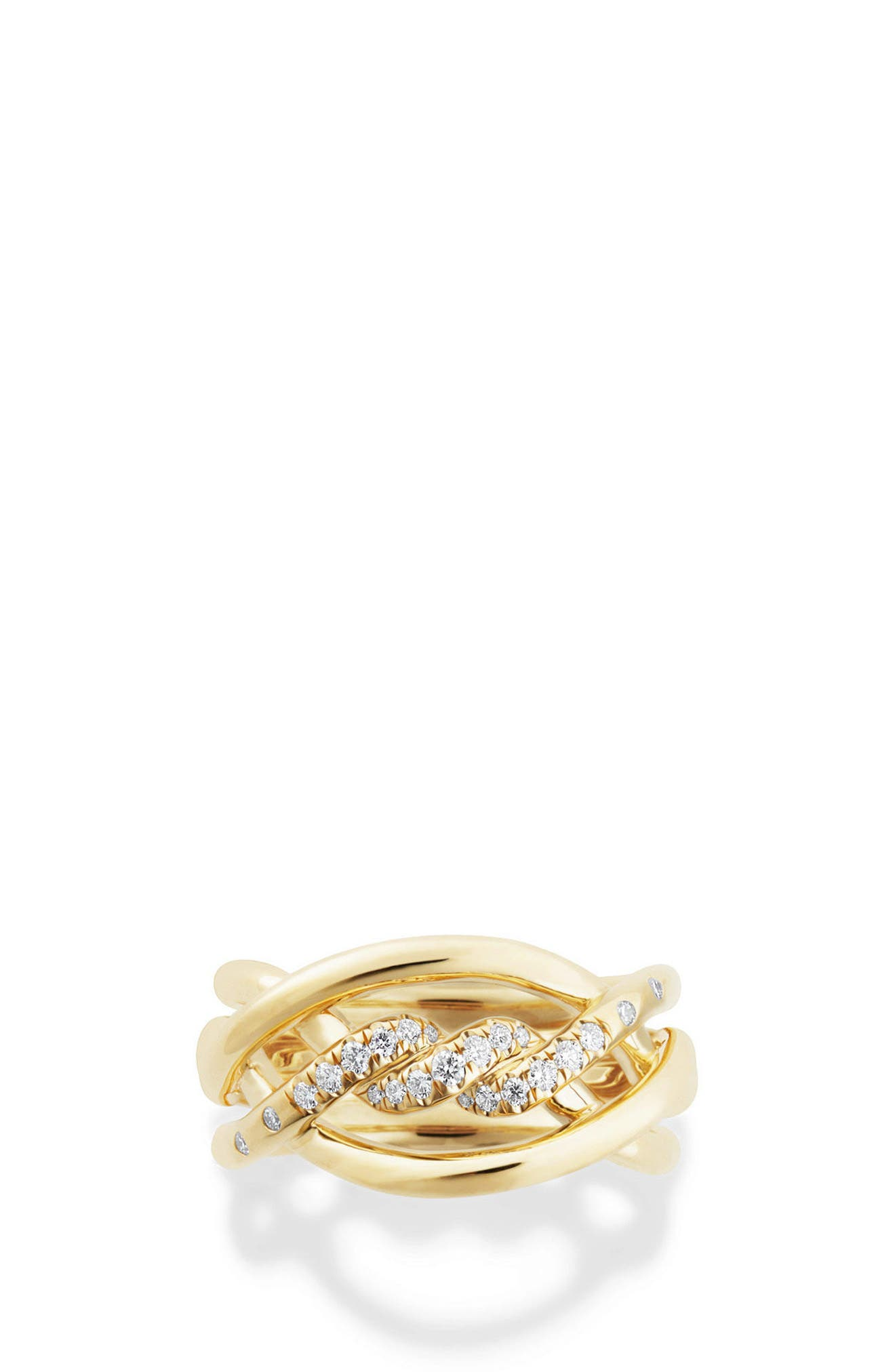 Continuance Ring with Diamonds in 18K Gold, 11.5mm,                             Alternate thumbnail 4, color,                             YELLOW GOLD