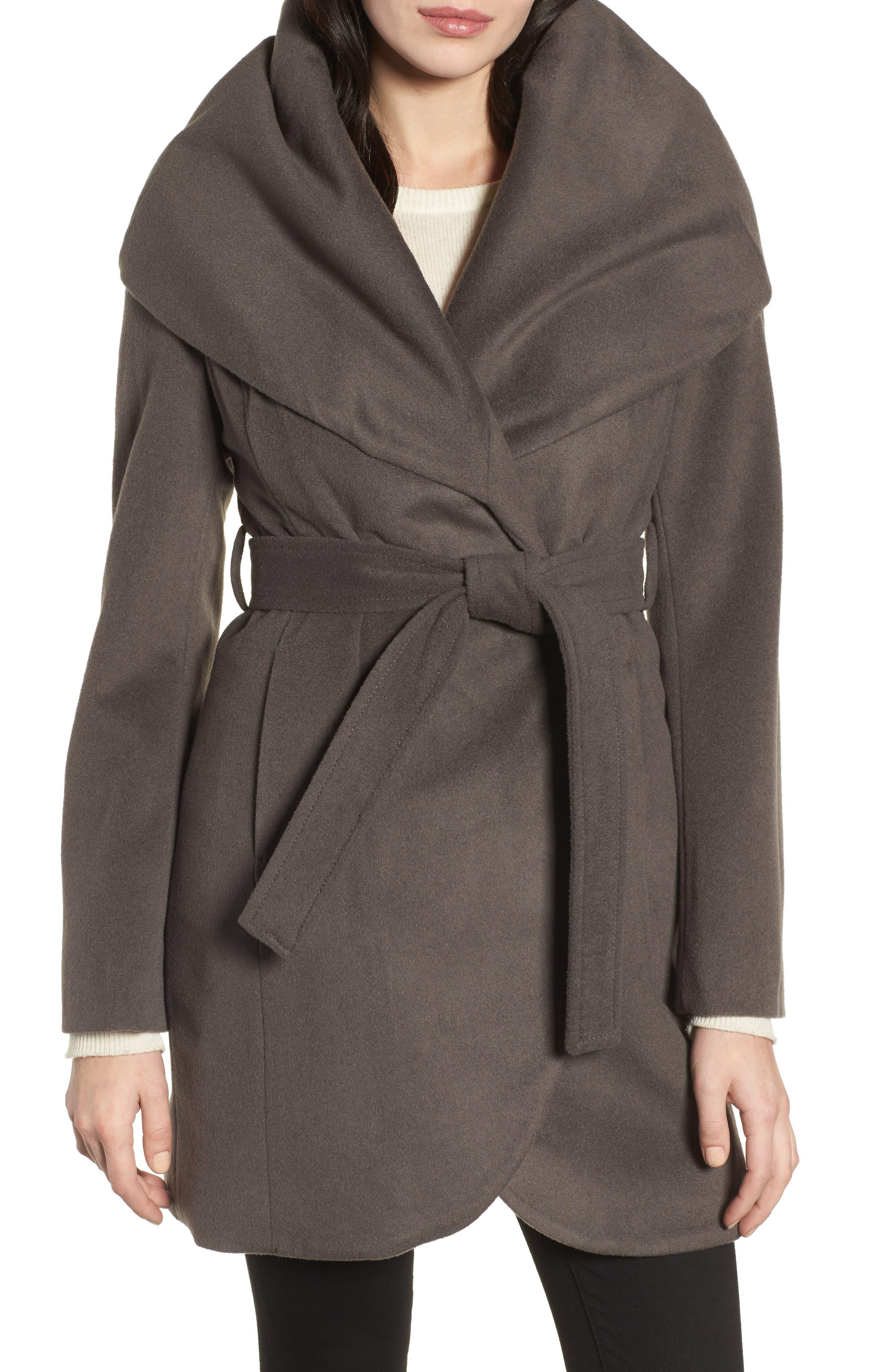 T Tahari Wool Blend Belted Wrap Coat,                             Main thumbnail 2, color,