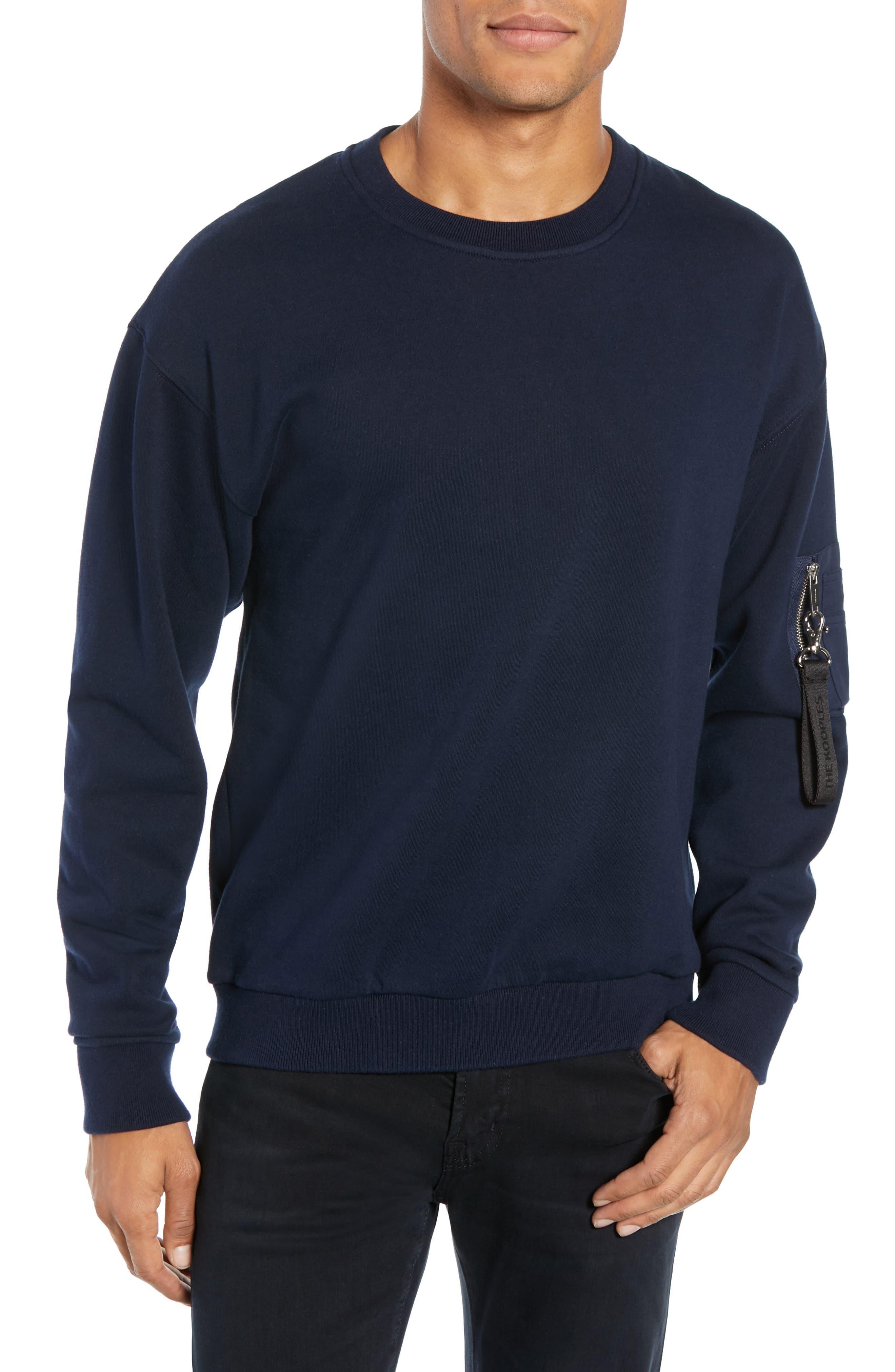 Long Sleeve Zip Pocket Sweatshirt,                         Main,                         color, NAVY