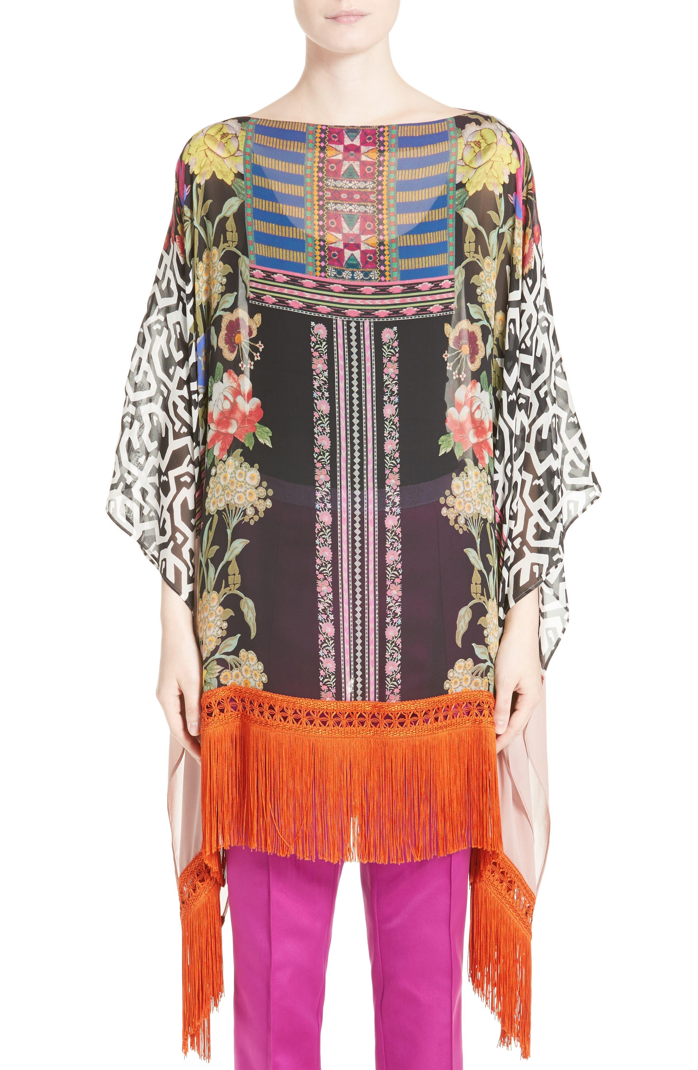 Fringe Trim Floral Print Silk Poncho,                         Main,                         color,