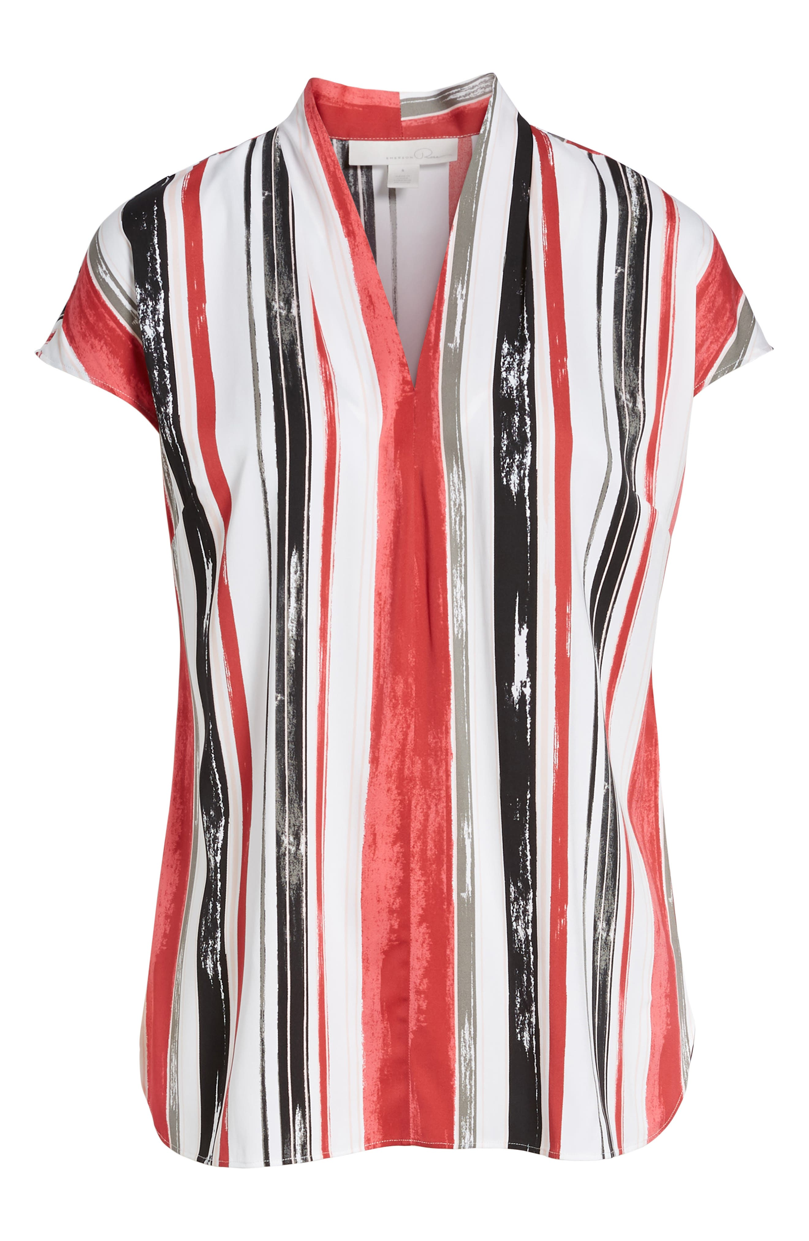 Short Sleeve Stripe Stretch Silk Blouse,                             Alternate thumbnail 7, color,                             900