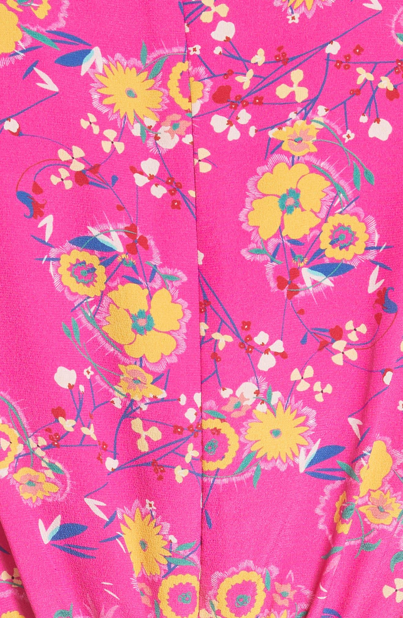 Lea Silk Midi Dress,                             Alternate thumbnail 5, color,                             SHOCKING PINK PIMPEMELL