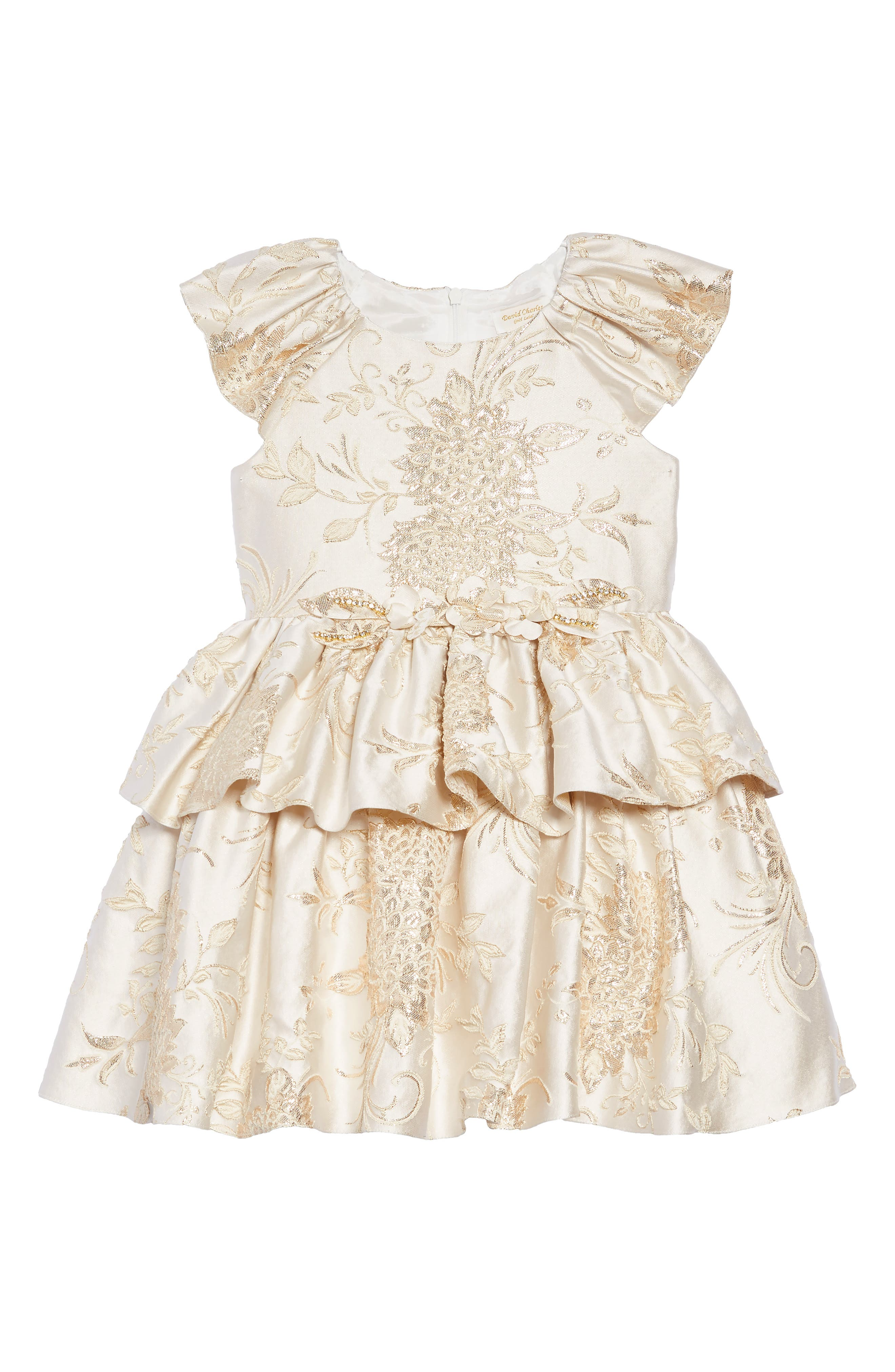 Brocade Dress,                         Main,                         color, IVORY/ GOLD