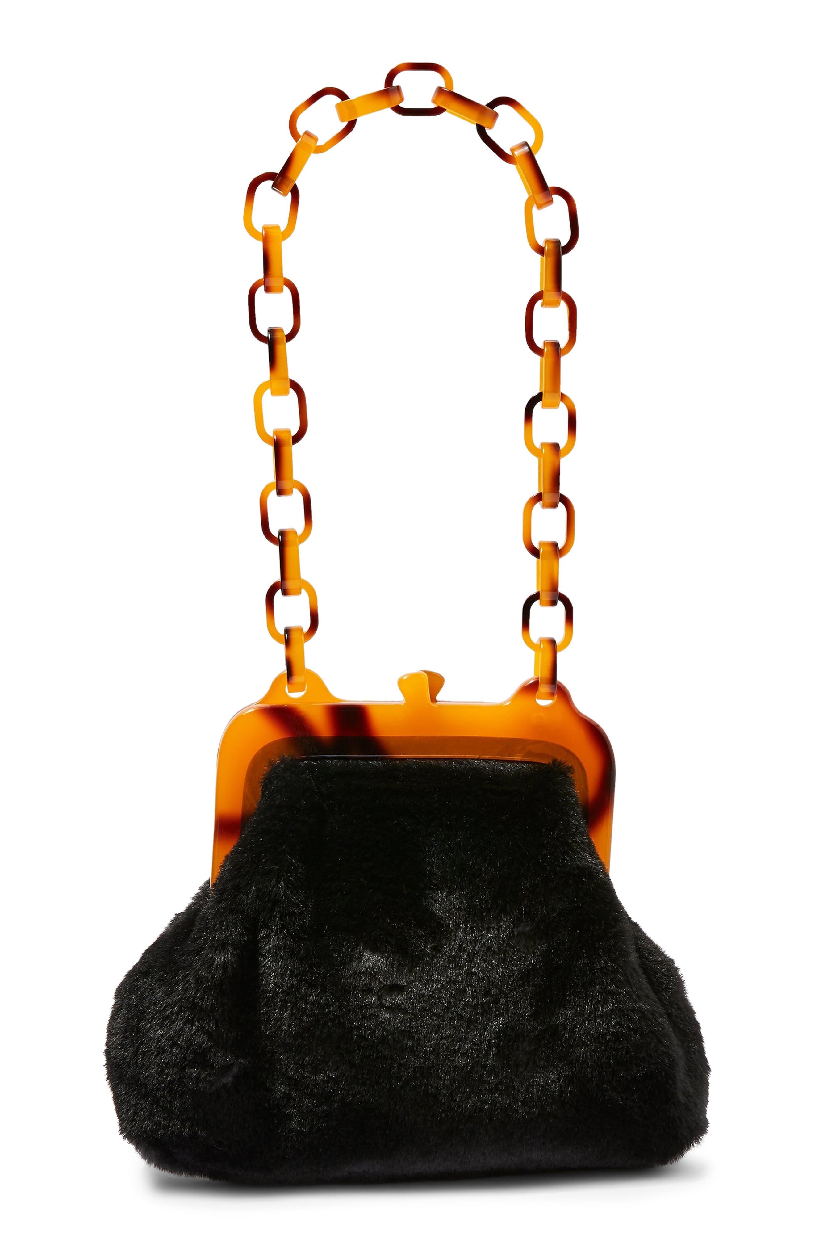 Faux Fur Frame Bag,                             Main thumbnail 1, color,                             BLACK