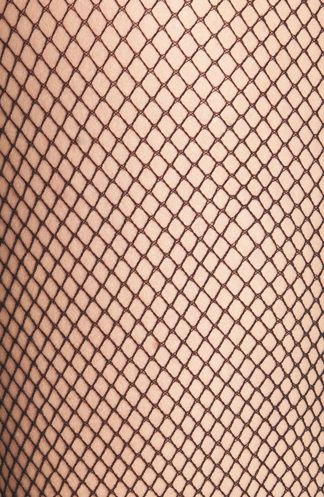 'Bas Tricot' Fishnet Stay-Up Stockings,                             Alternate thumbnail 2, color,                             BLACK