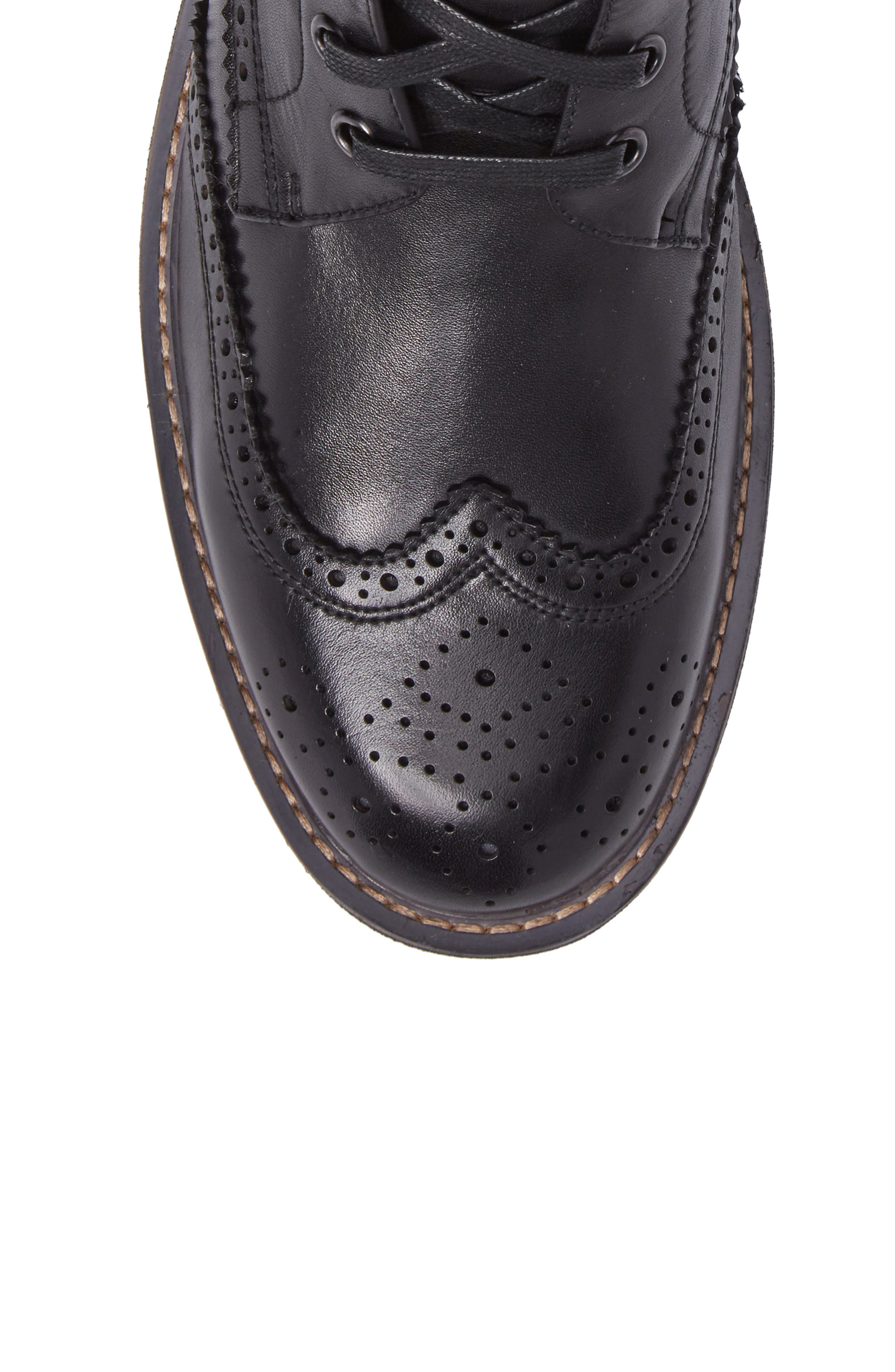 Farber Wingtip Boot,                             Alternate thumbnail 5, color,                             BLACK LEATHER