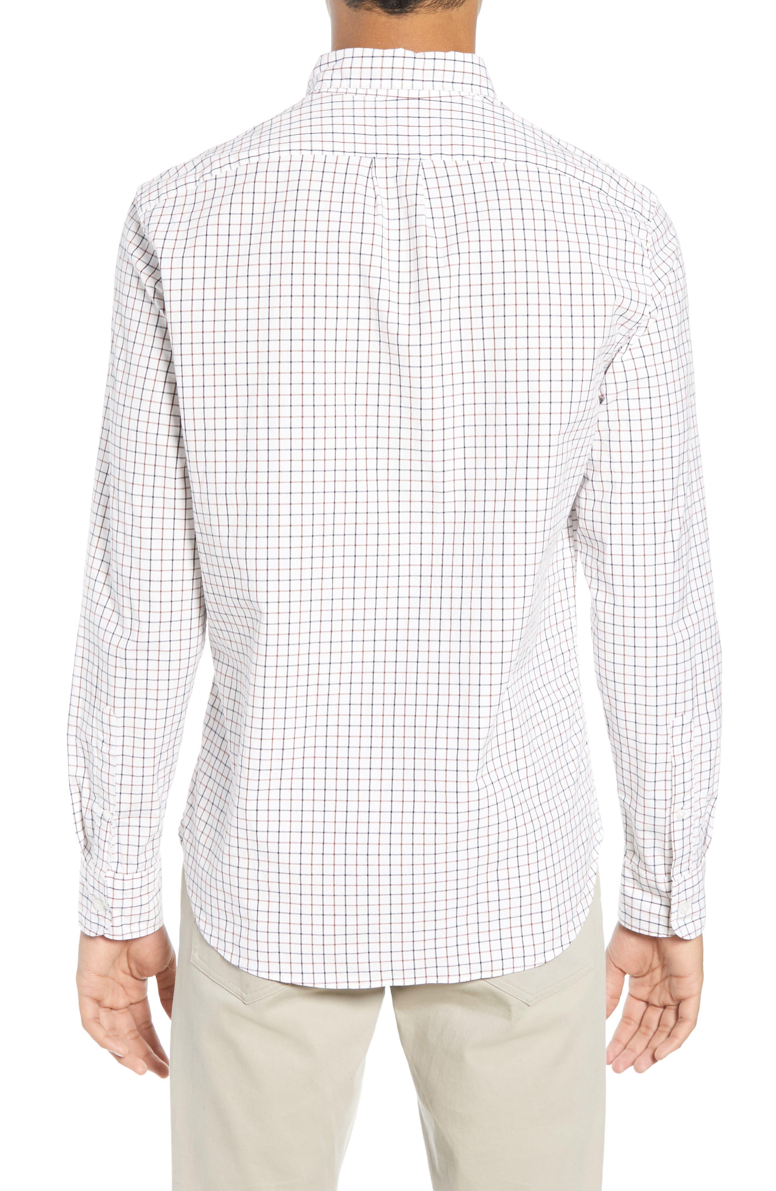 Slim Fit Stretch Secret Wash Stripe Tattersall Sport Shirt,                             Alternate thumbnail 3, color,                             NAVY MAHOGANY