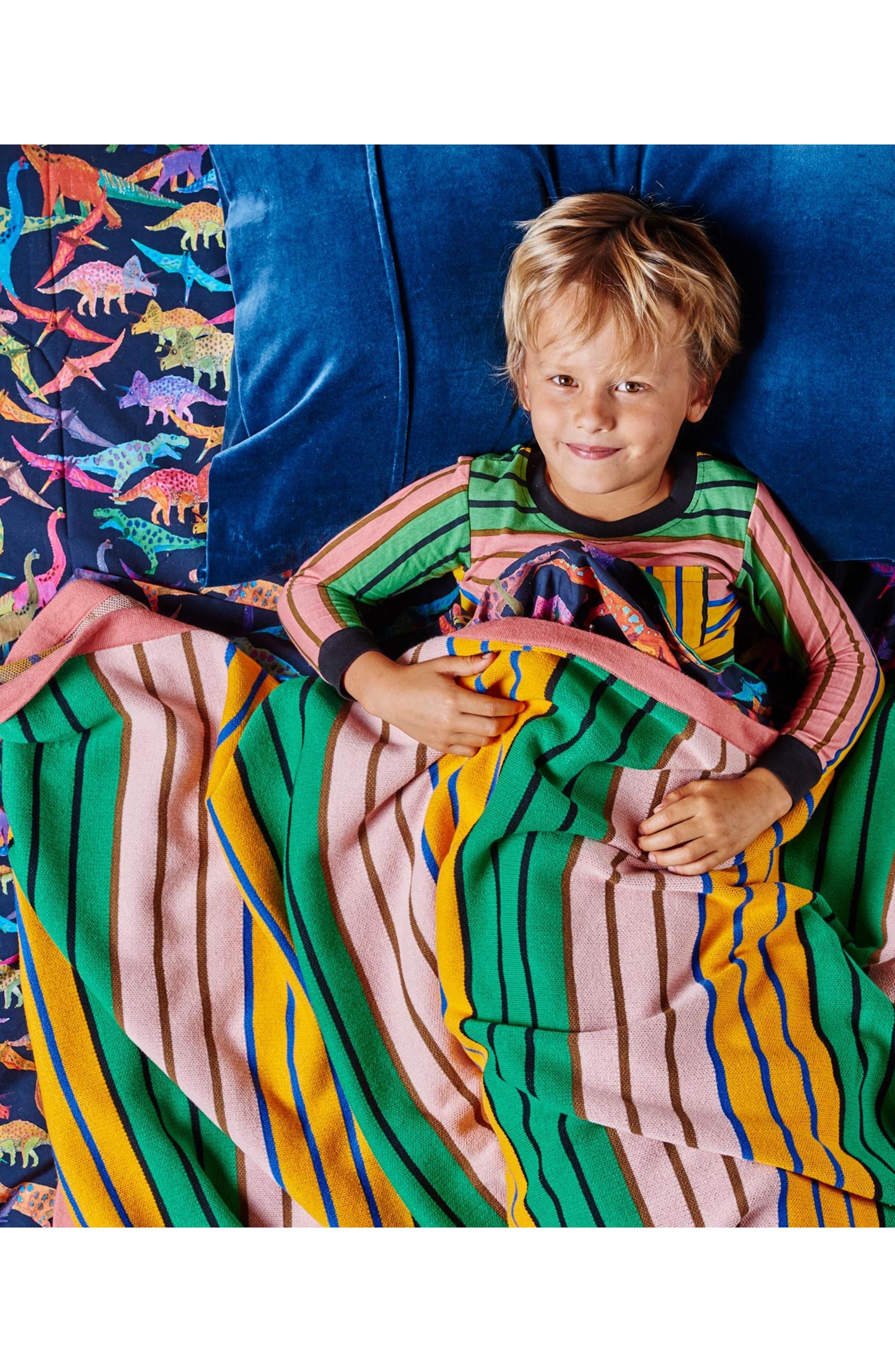 KIP&CO,                             Stripe Knit Cotton Blanket,                             Alternate thumbnail 2, color,                             300