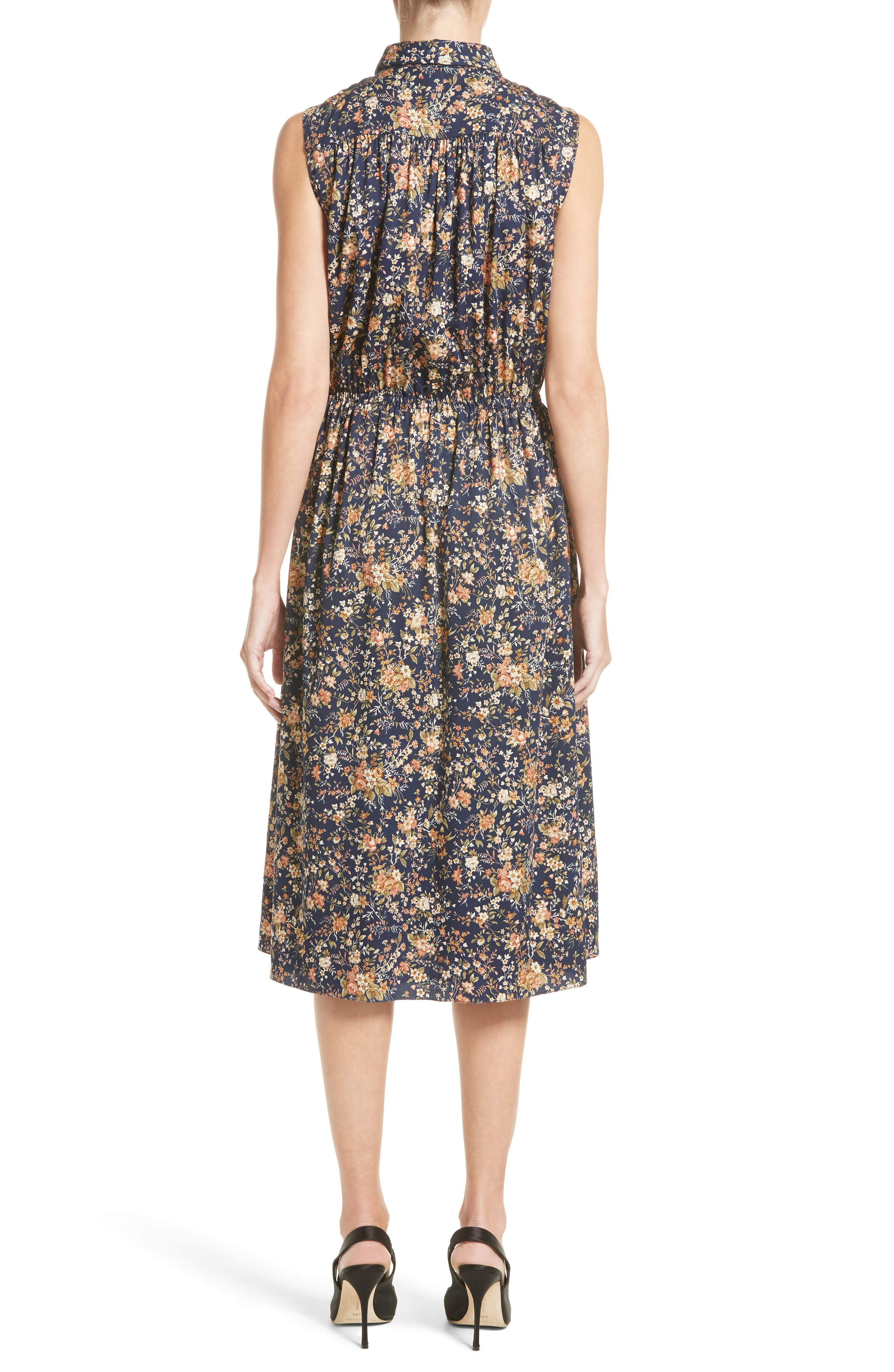 Floral Print Silk Dress,                             Alternate thumbnail 2, color,                             416