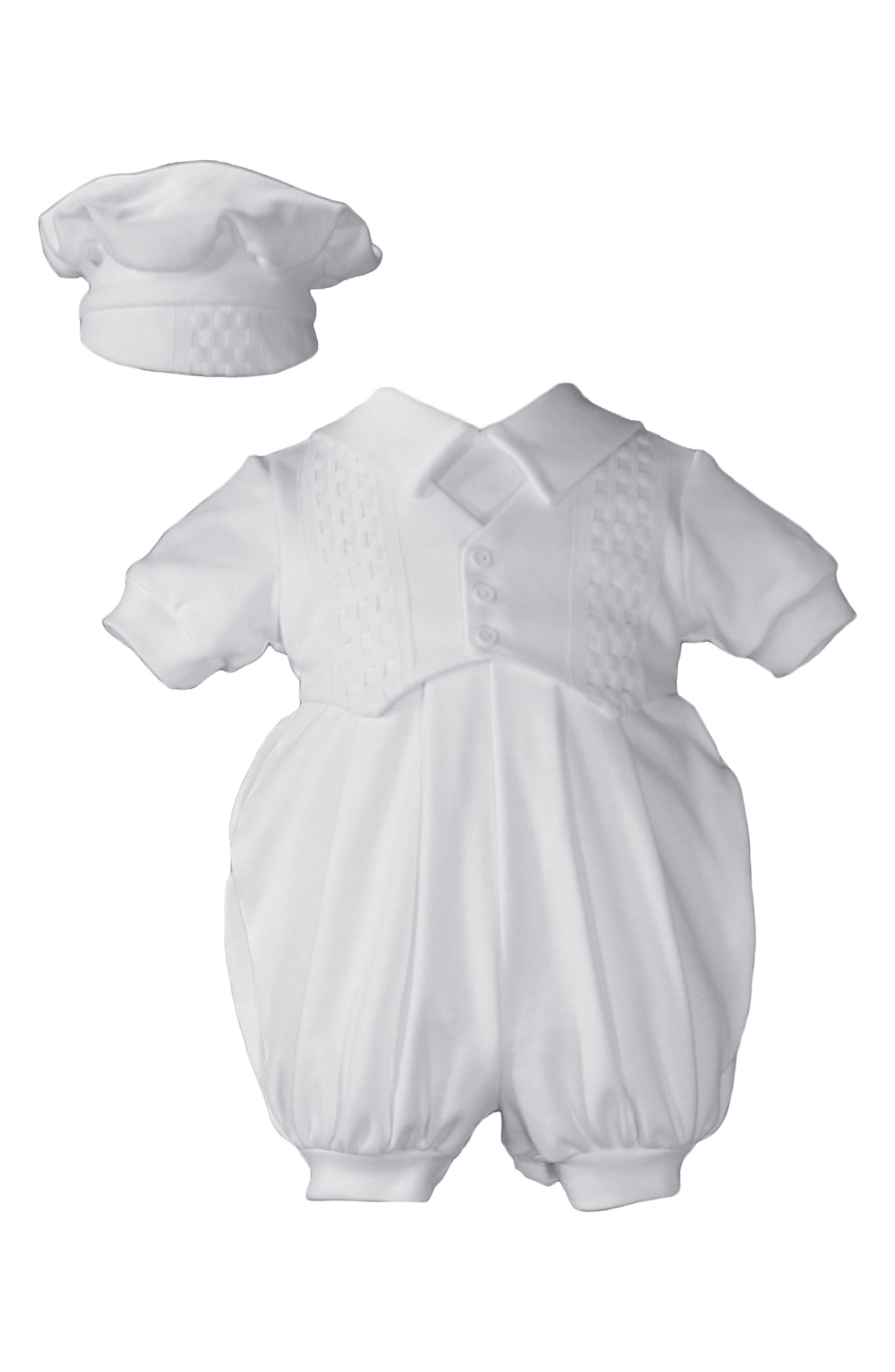 Romper & Hat Set,                             Main thumbnail 1, color,                             WHITE